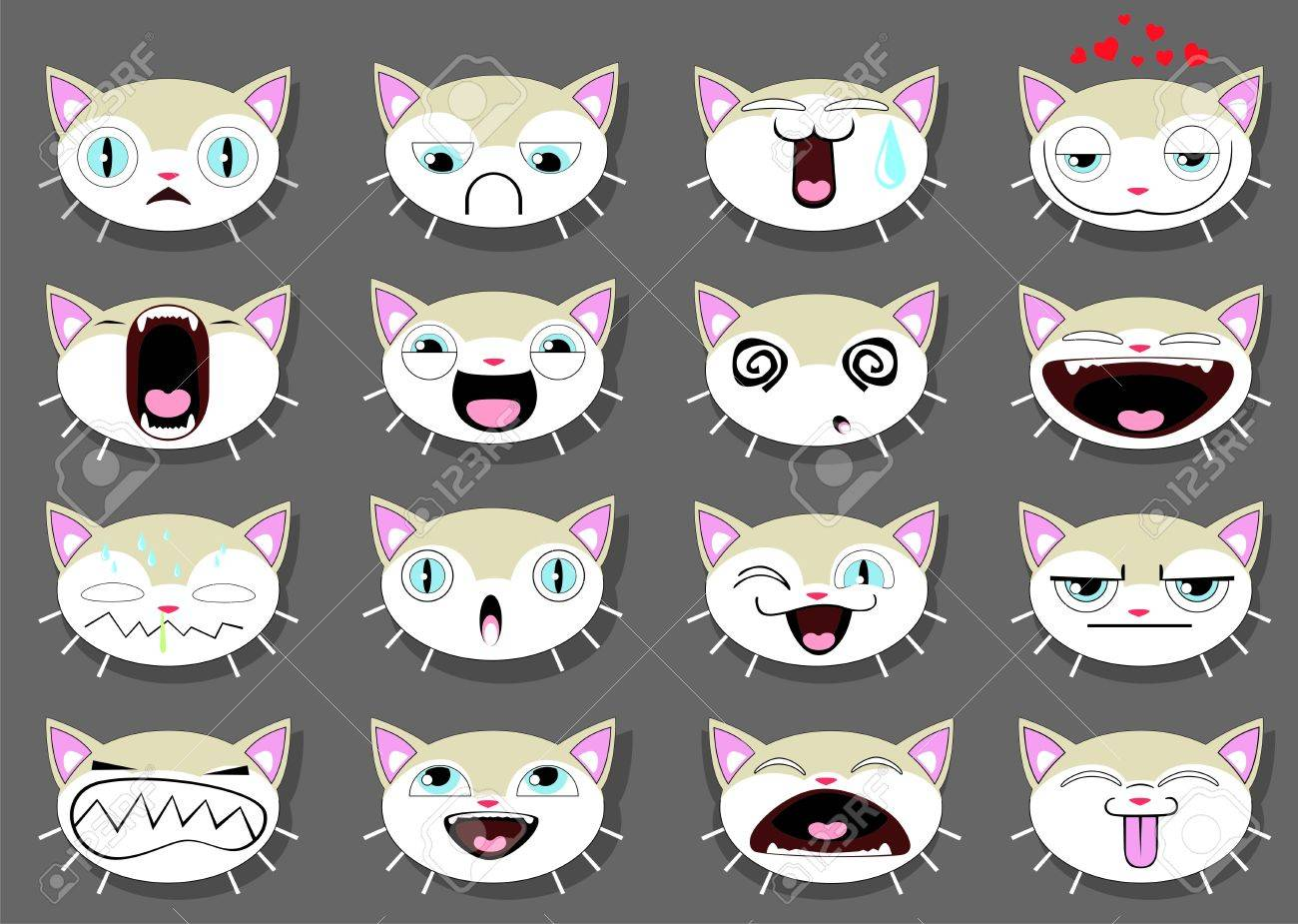 Set of 16 smiley kitten faces. all grouped Stock Vector - 13699556