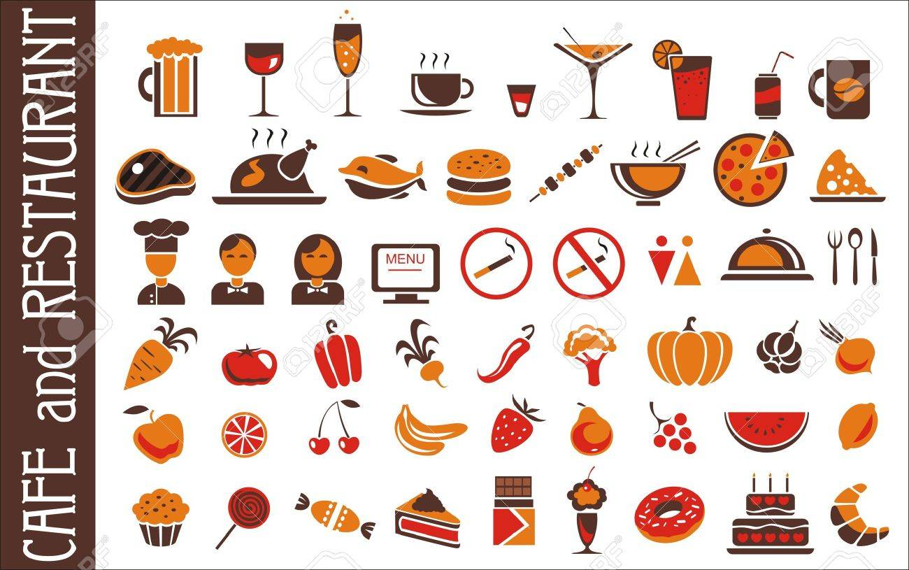 food and drink icons set for white background Stock Vector - 13803391
