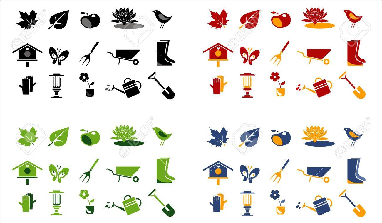 gardening and landscape icons. 4 color variations Stock Vector - 13907636