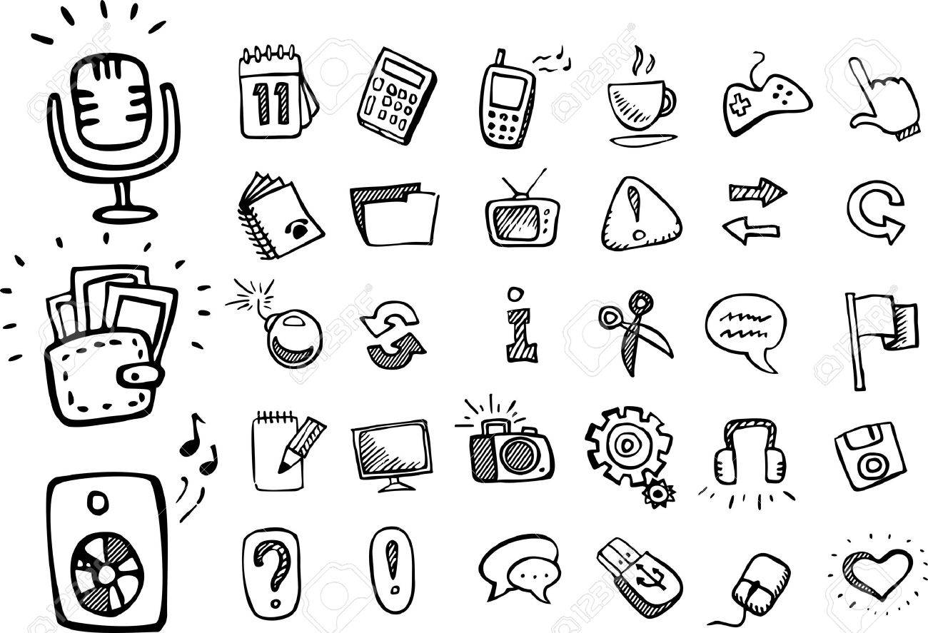 doodle web icons Stock Vector - 16885785