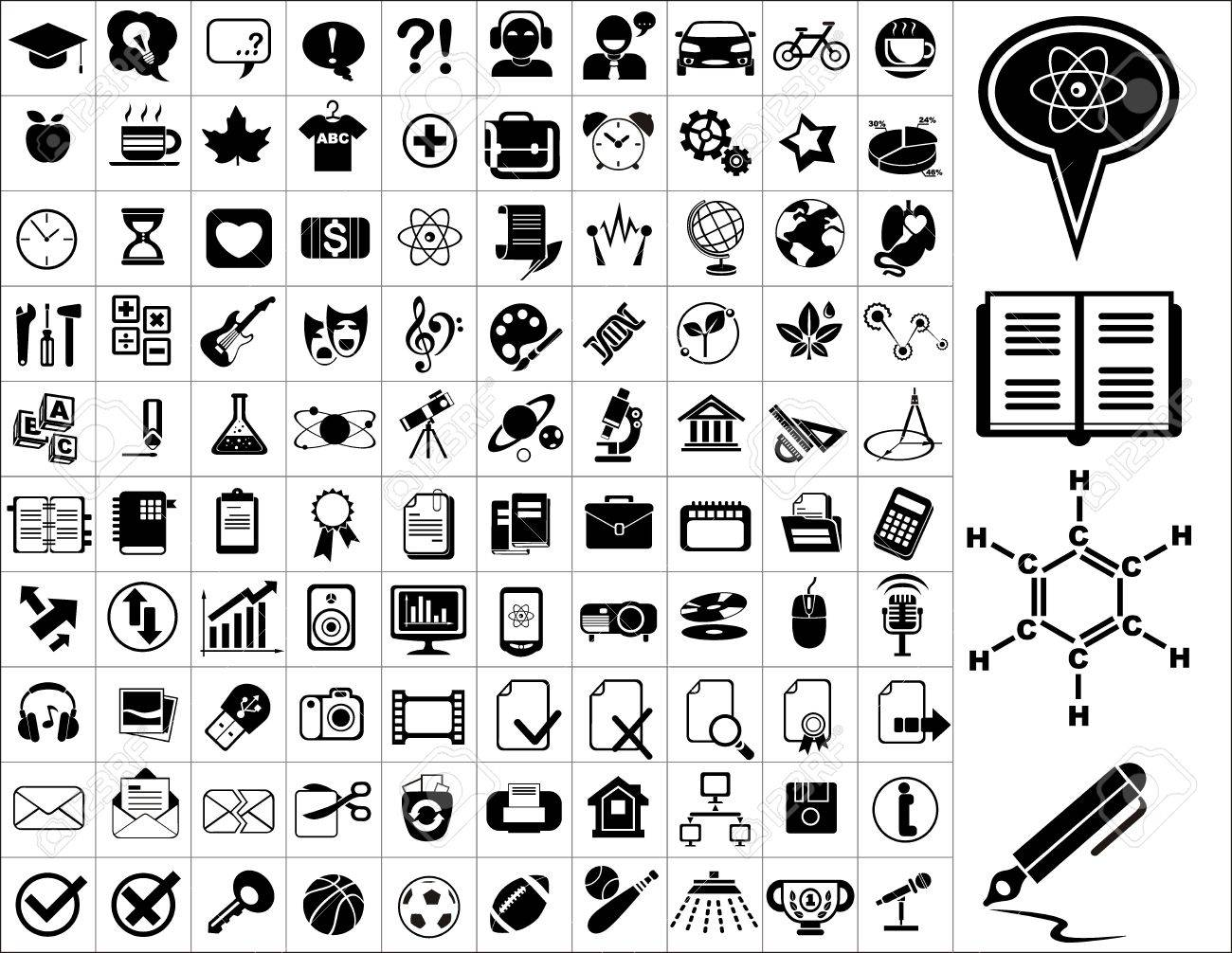 100 education icons Stock Vector - 17604827