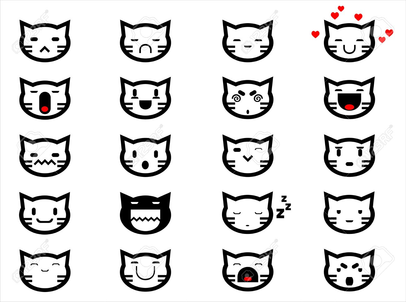 Vector icons of smiley cat faces Stock Vector - 17604812