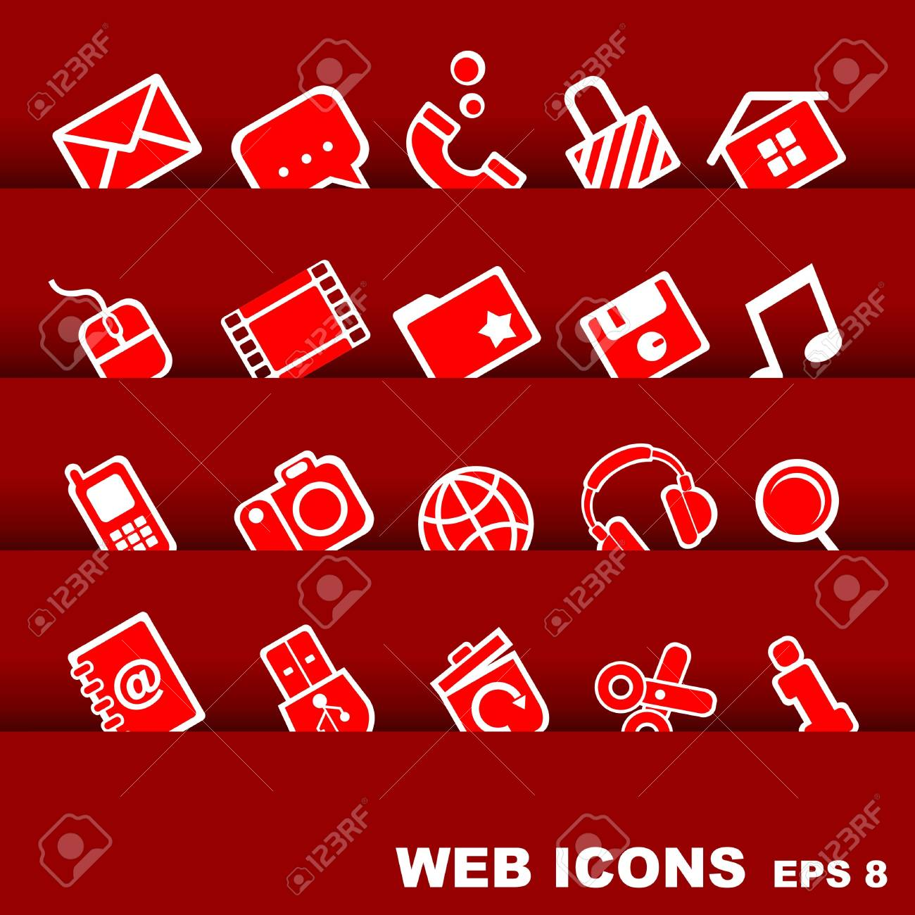 red web icons Stock Vector - 17604813