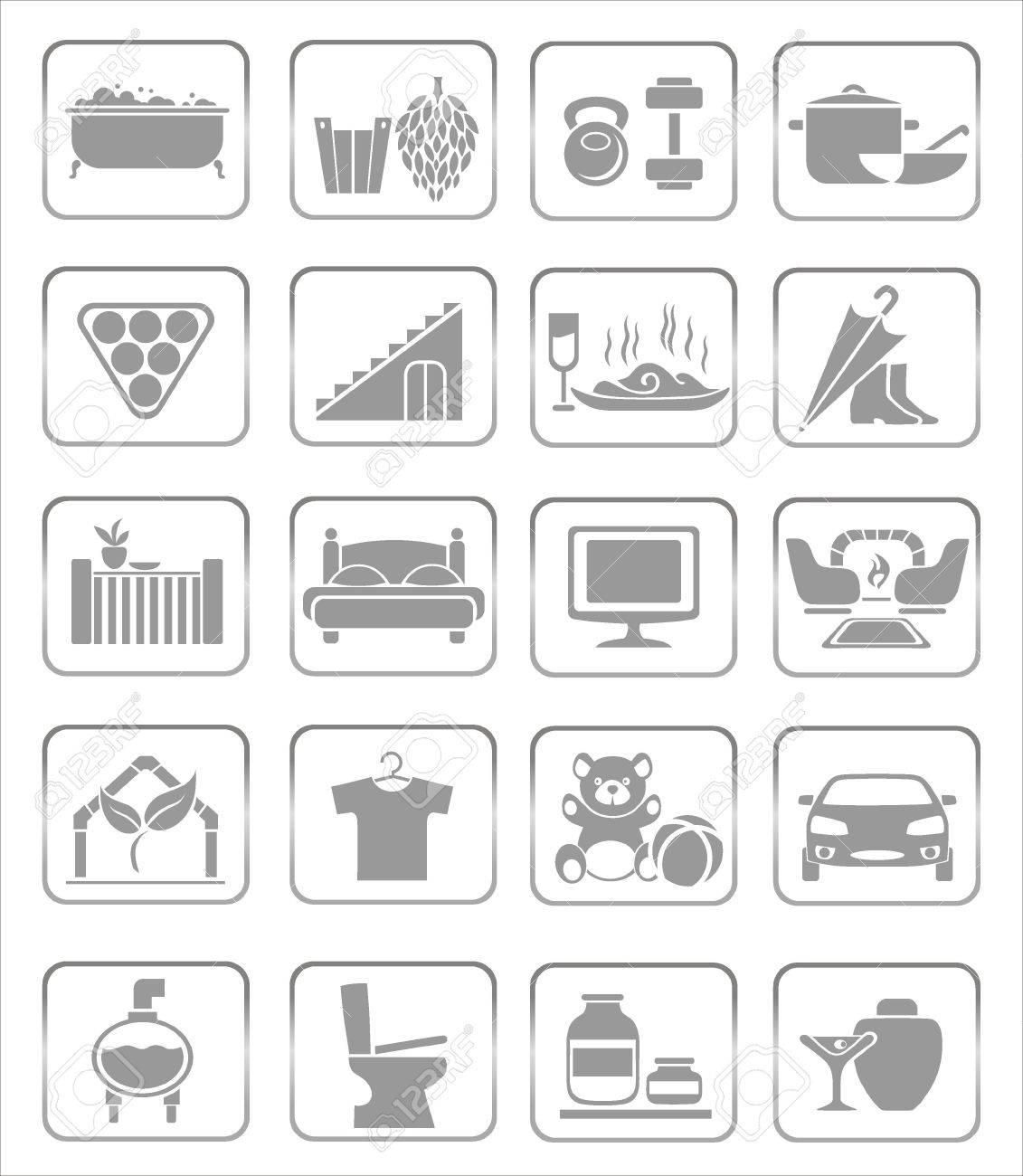 interior icons Stock Vector - 18730951