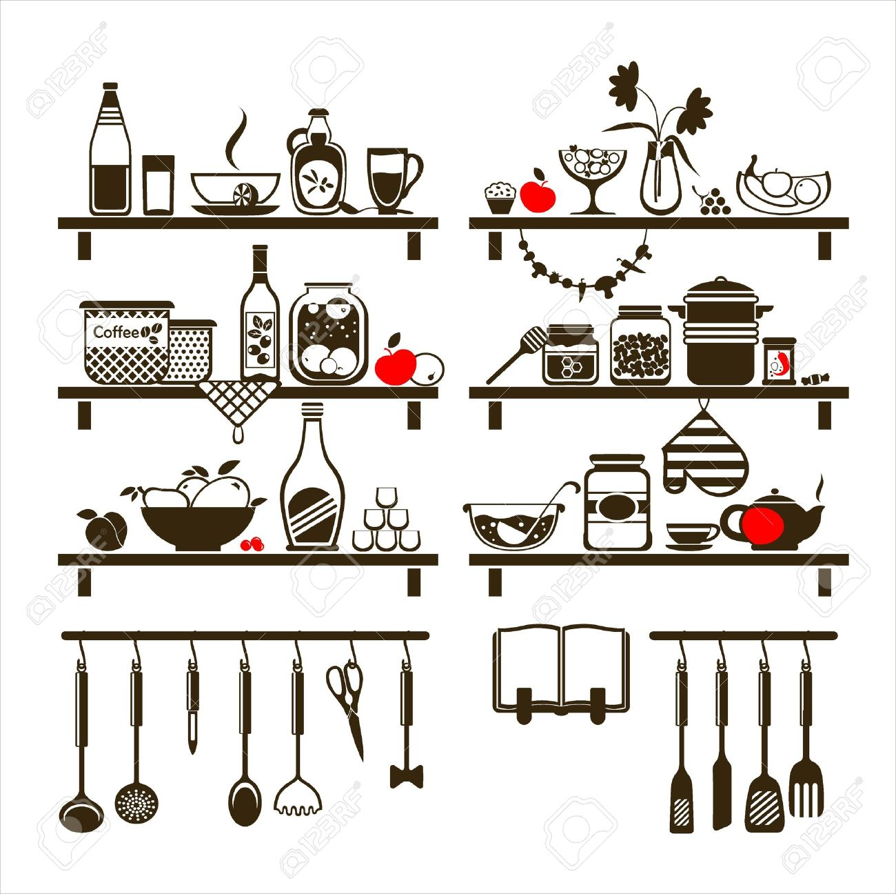 food and drinks icons set, drawn up as kitchen shelves Stock Vector - 18730956