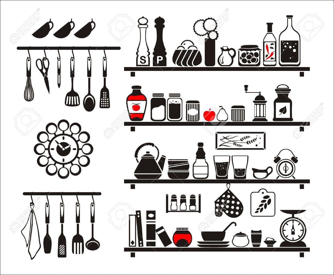 black food and drinks icons set, drawn up as kitchen shelves Stock Vector - 18730952