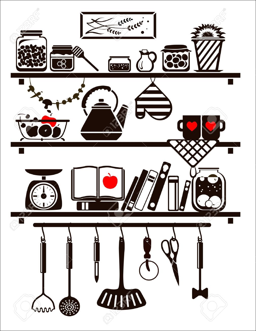 Vector food and drinks icons set, drawn up as kitchen shelves Stock Vector - 19373415