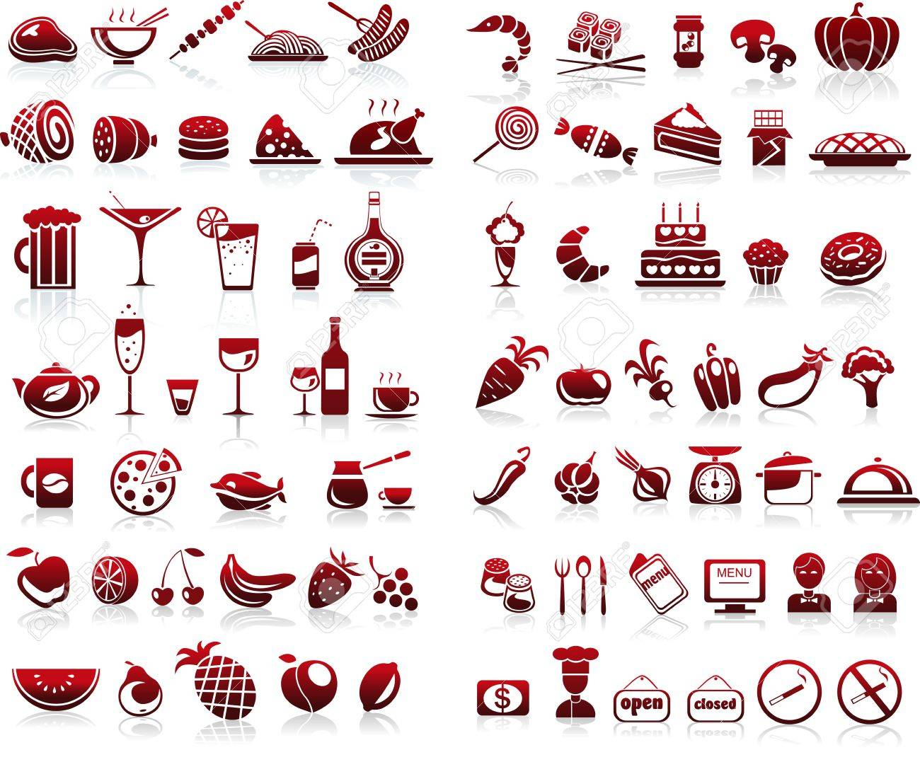 77 food and drink icons set for white background Stock Vector - 20038086