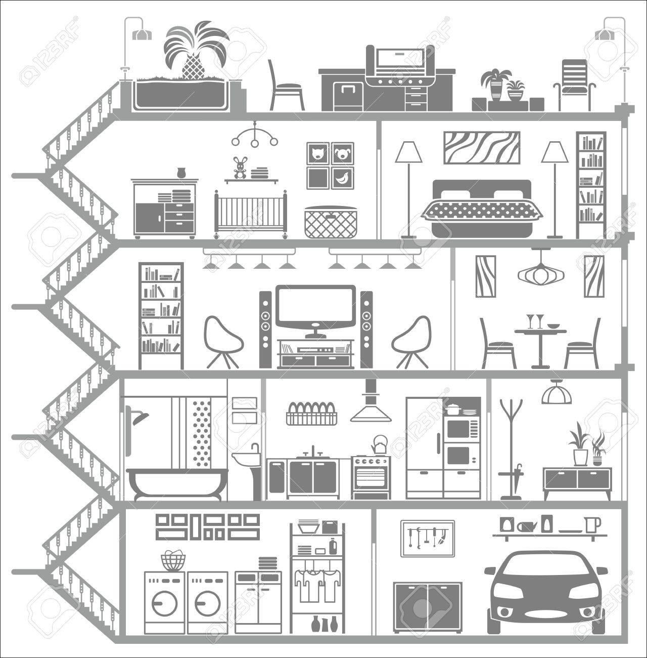 house interior silhouette illustration Stock Vector - 26590188