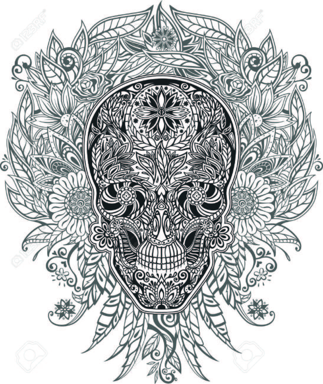human skull made of flowers, vector illustration Stock Vector - 32961016