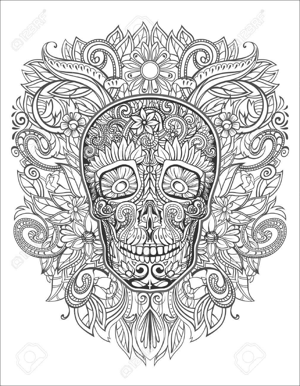 human skull made of flowers, Stock Vector - 37060357