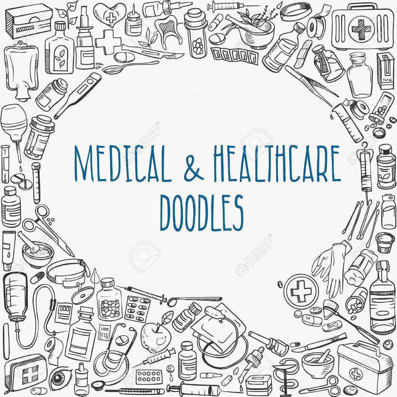 medicine doodle background Stock Vector - 40458095