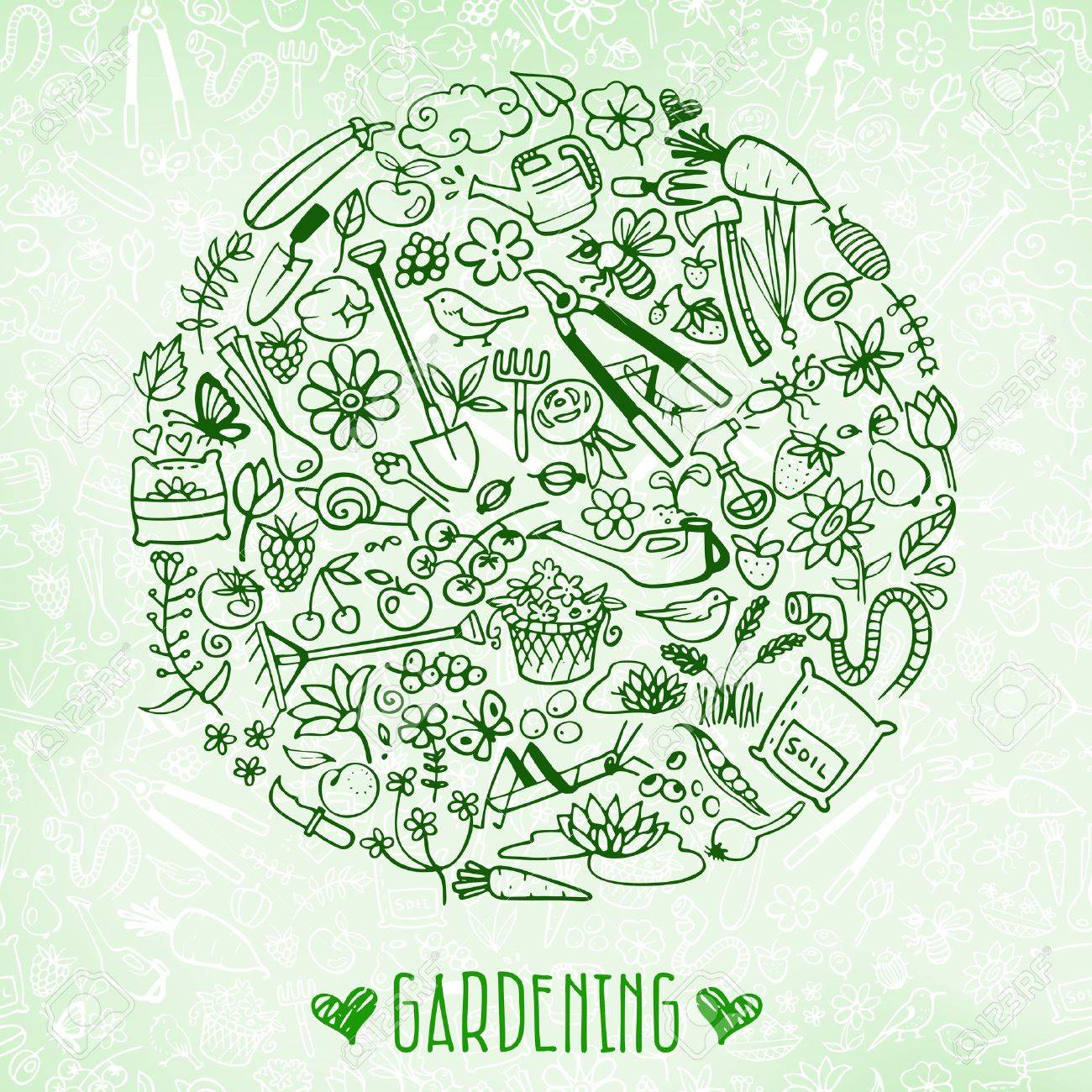 hand drawn garden background Stock Vector - 40611838