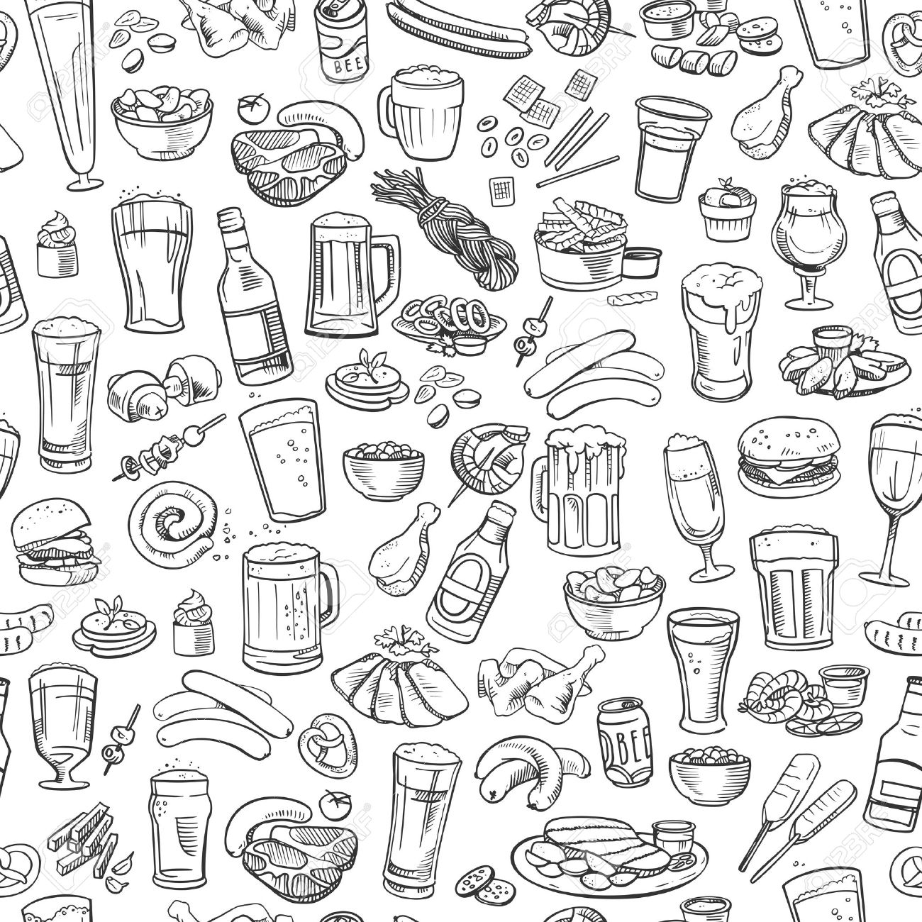 sketchy beer and snacks, seamless background Stock Vector - 40901619