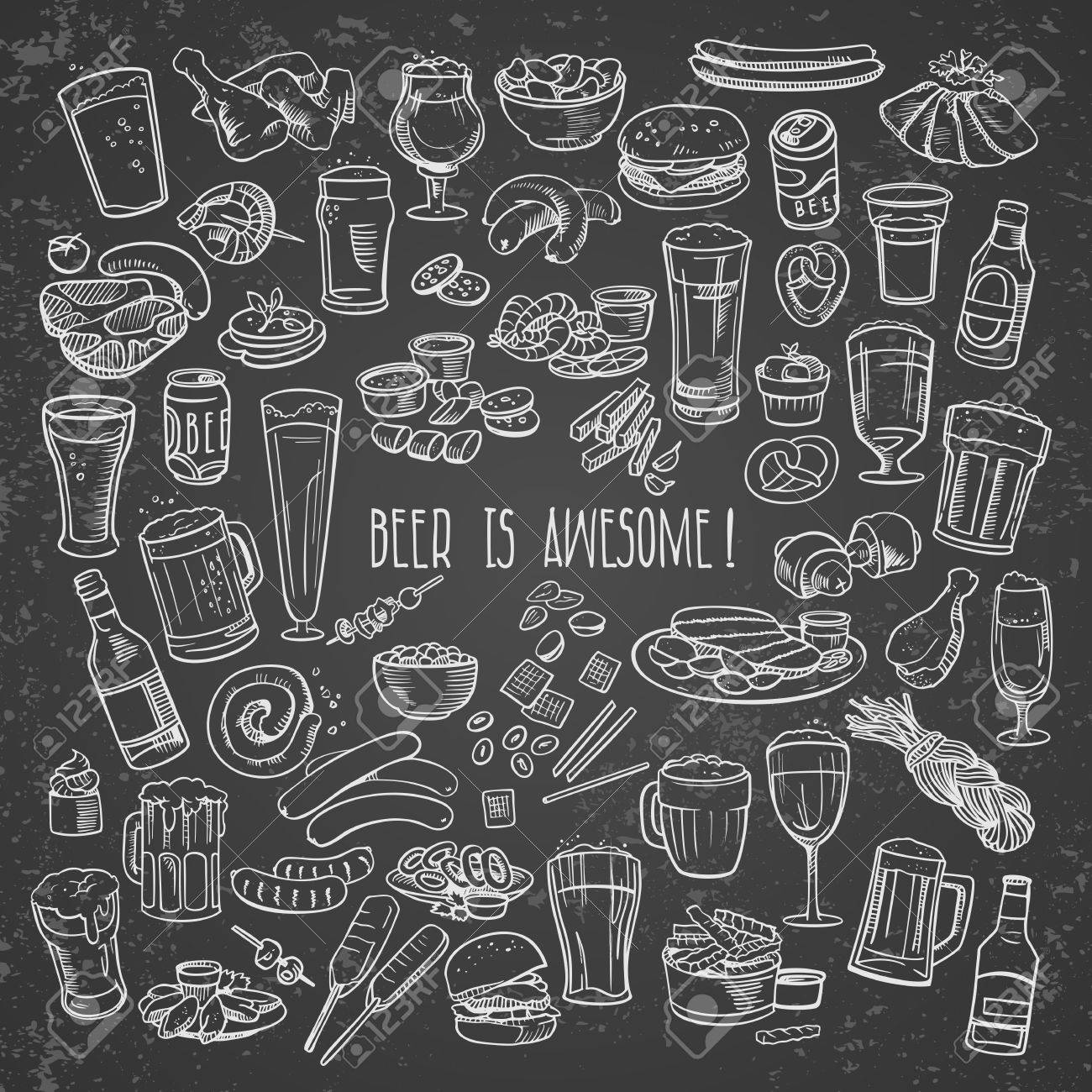 sketchy beer and snacks Stock Vector - 40901620