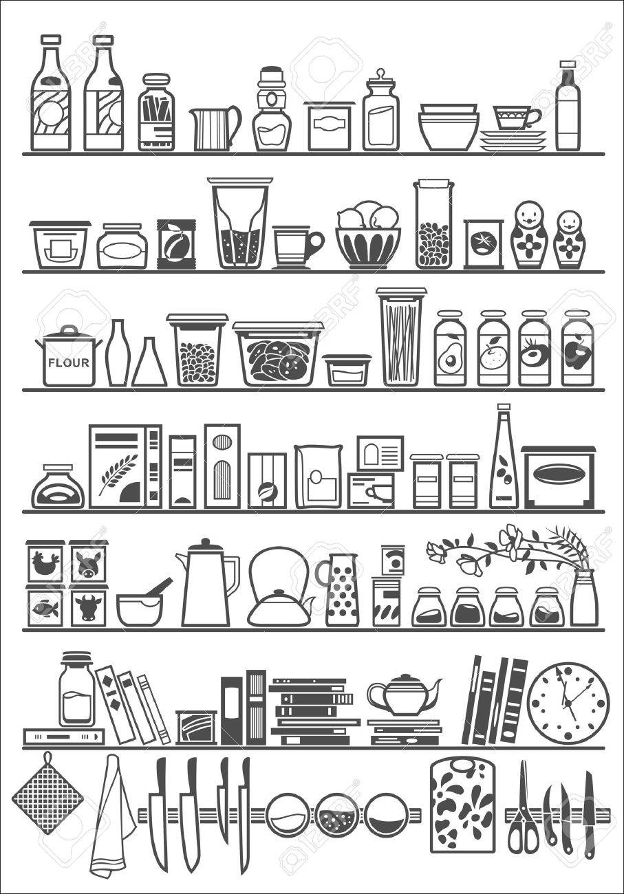 kitchen or pantry shelves Stock Vector - 41549816