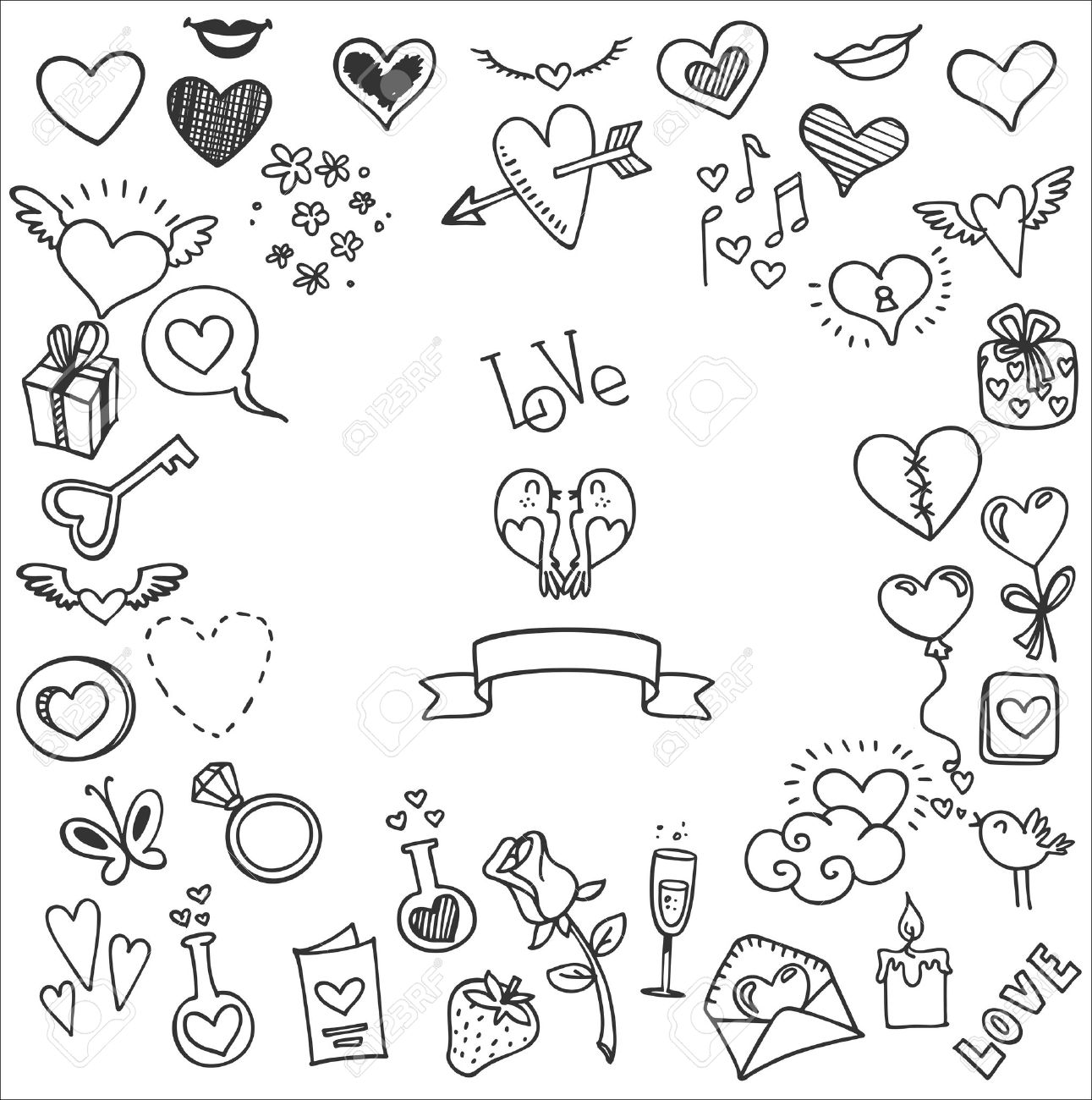 sketchy love and hearts doodles, vector illustration Stock Vector - 50570178