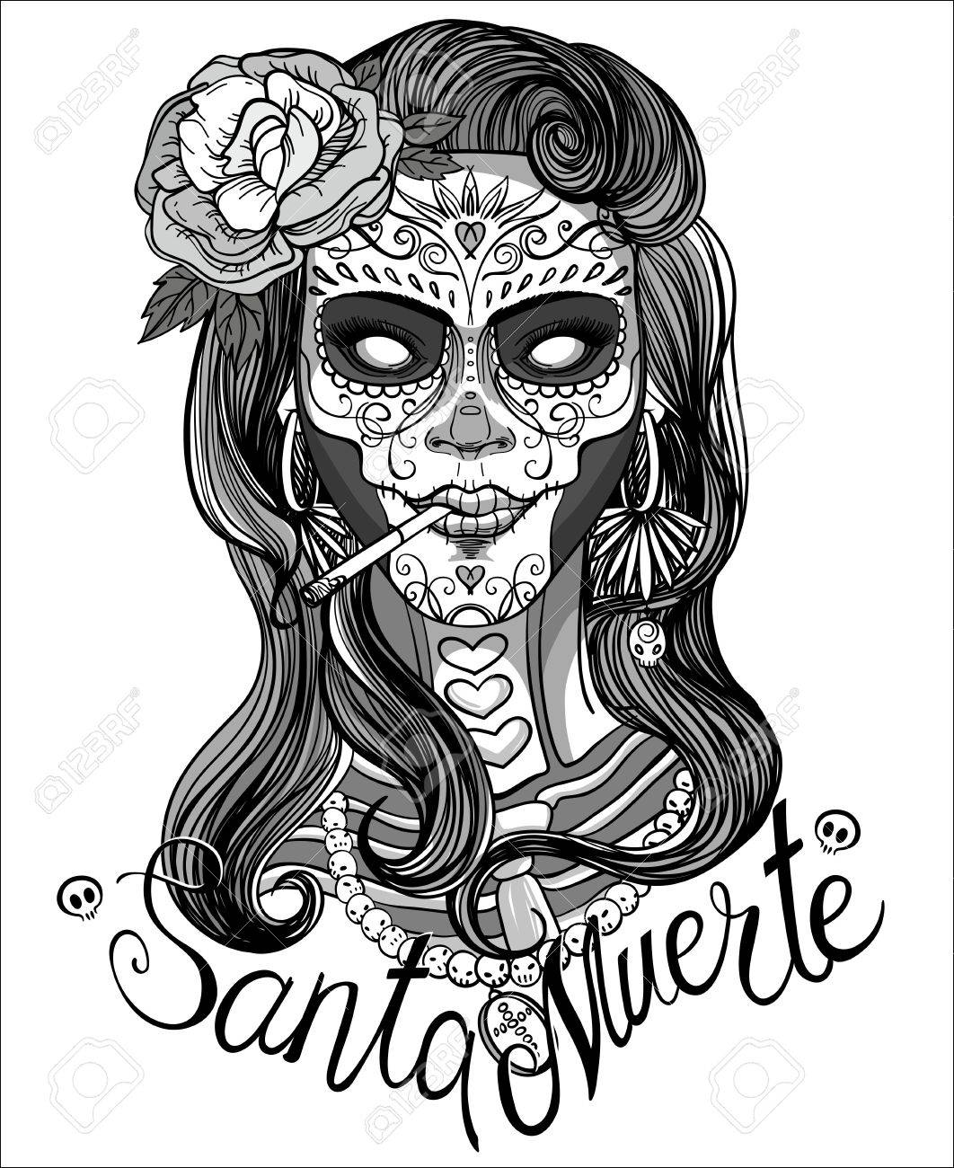 Woman With Sugar Skull Makeup Day Of The Dead Royalty Free Cliparts