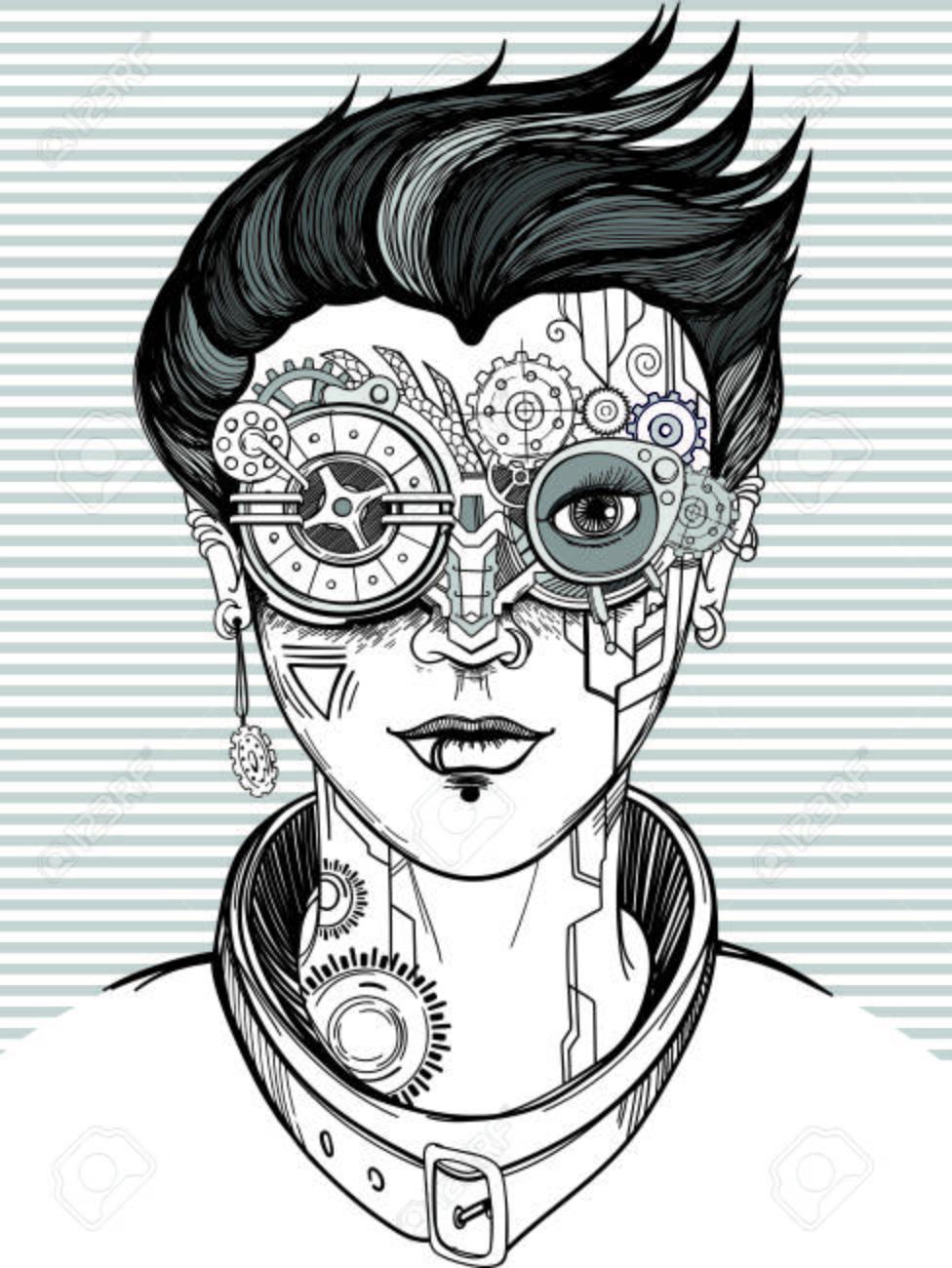 スチーム パンクな女の子モノクロのベクトル イラストt シャツ