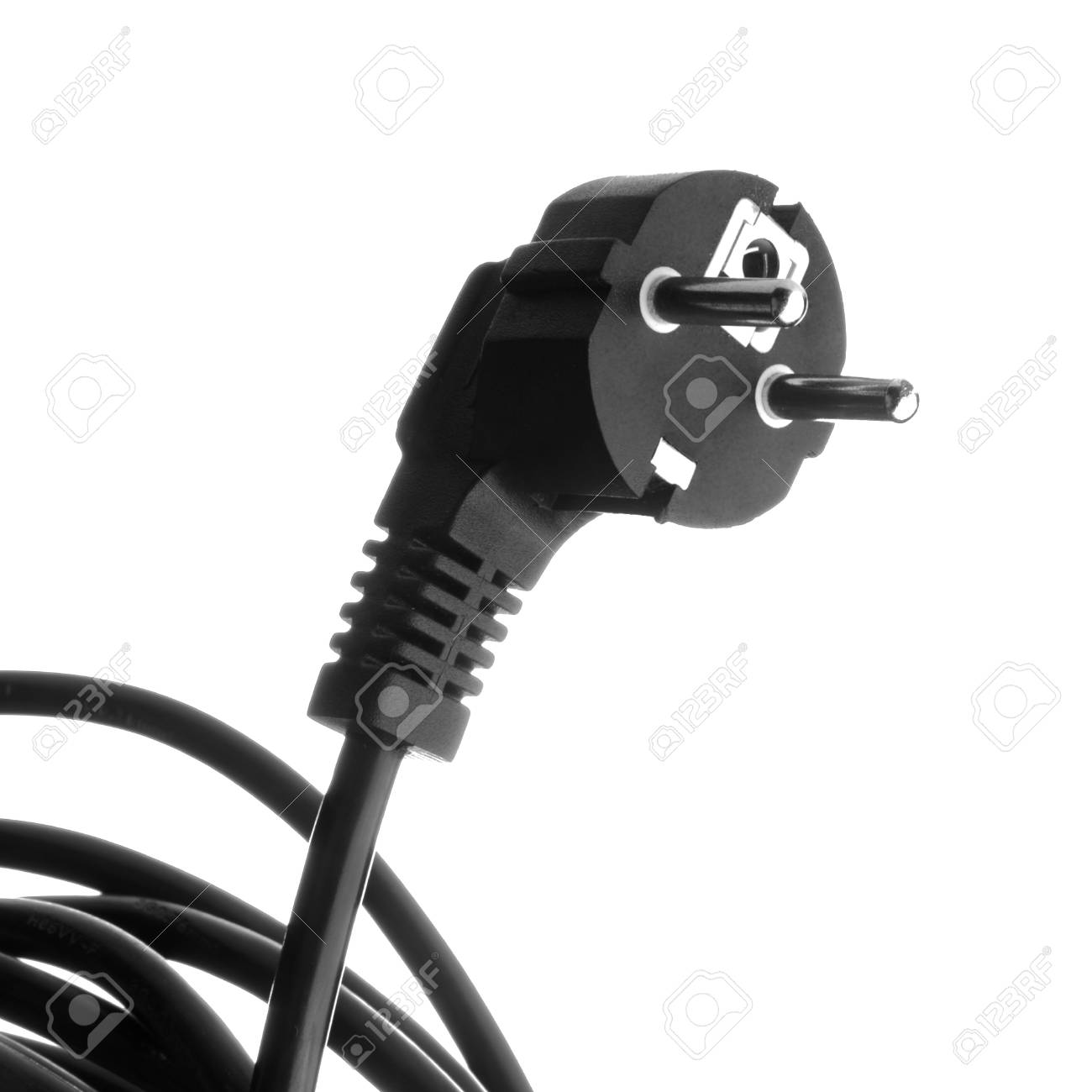 electrical cable with plug on white background Stock Photo - 14008687