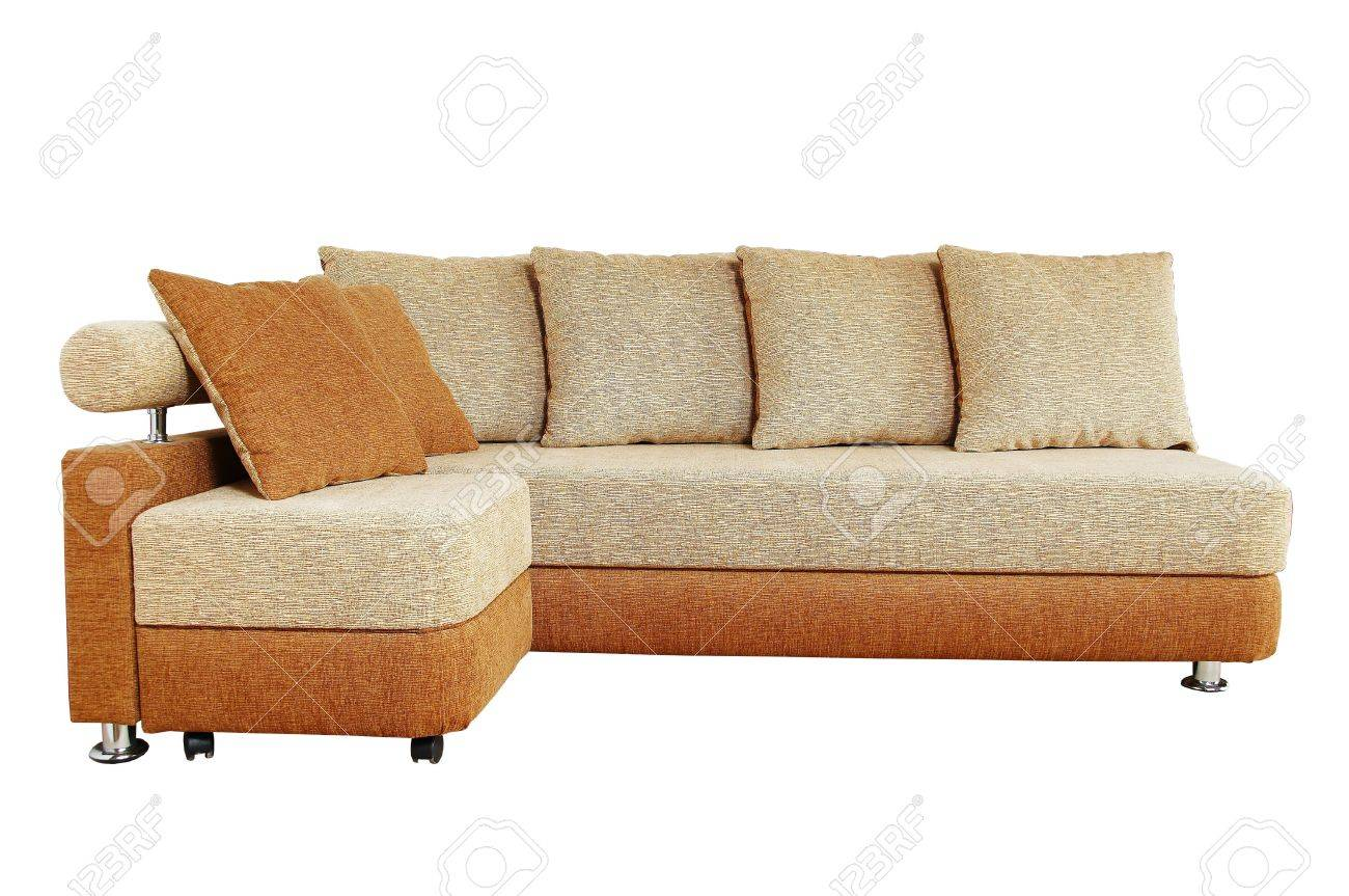 Super Brown Sofa With Fabric Upholstery Isolated On White Background Home Interior And Landscaping Ologienasavecom