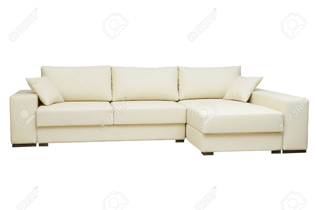 Beautiful Leather Sofa Beige Color On A White Background Stock Photo Picture And Royalty Free Image Image 15663459