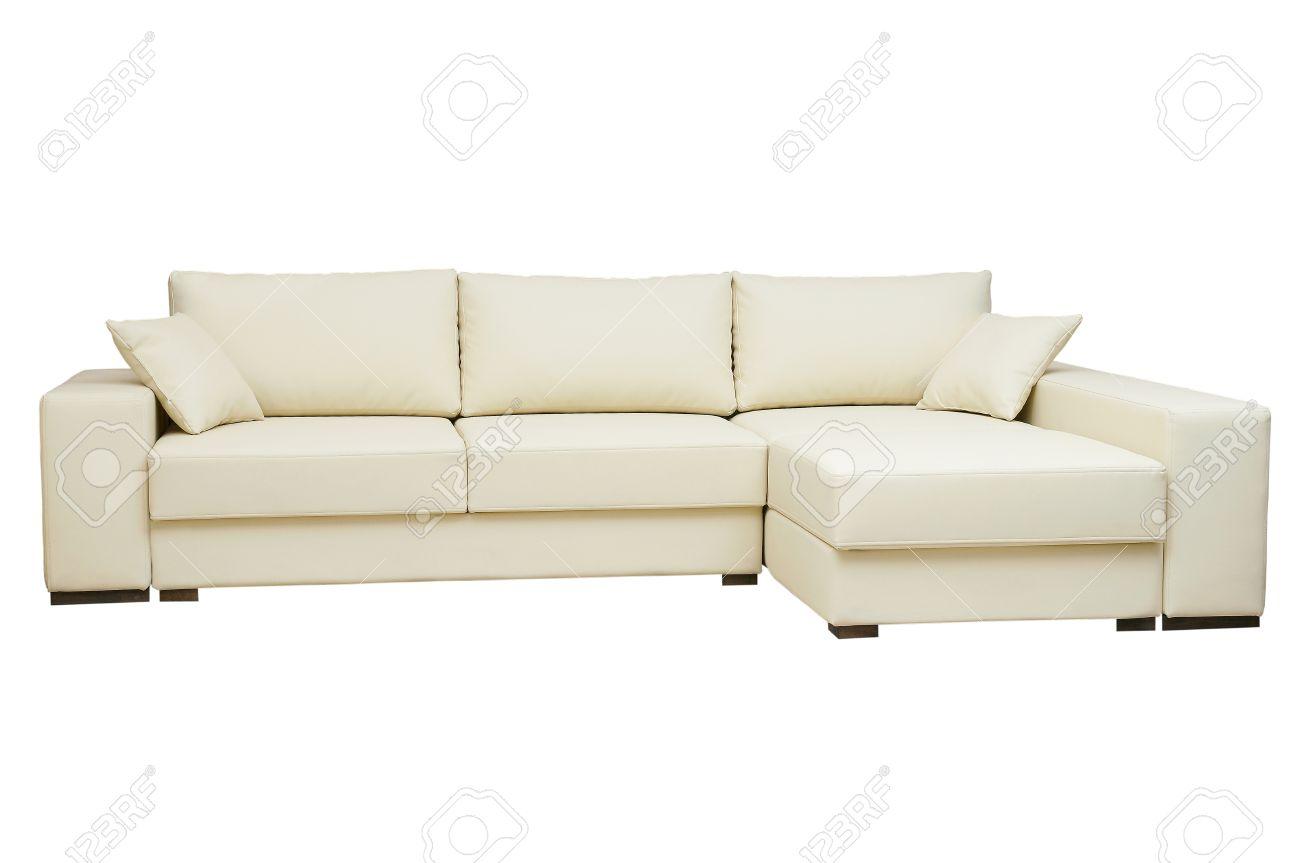 Schönen Ledersofa Beige Farbe Auf Weißem Hintergrund Standard Bild    15663459