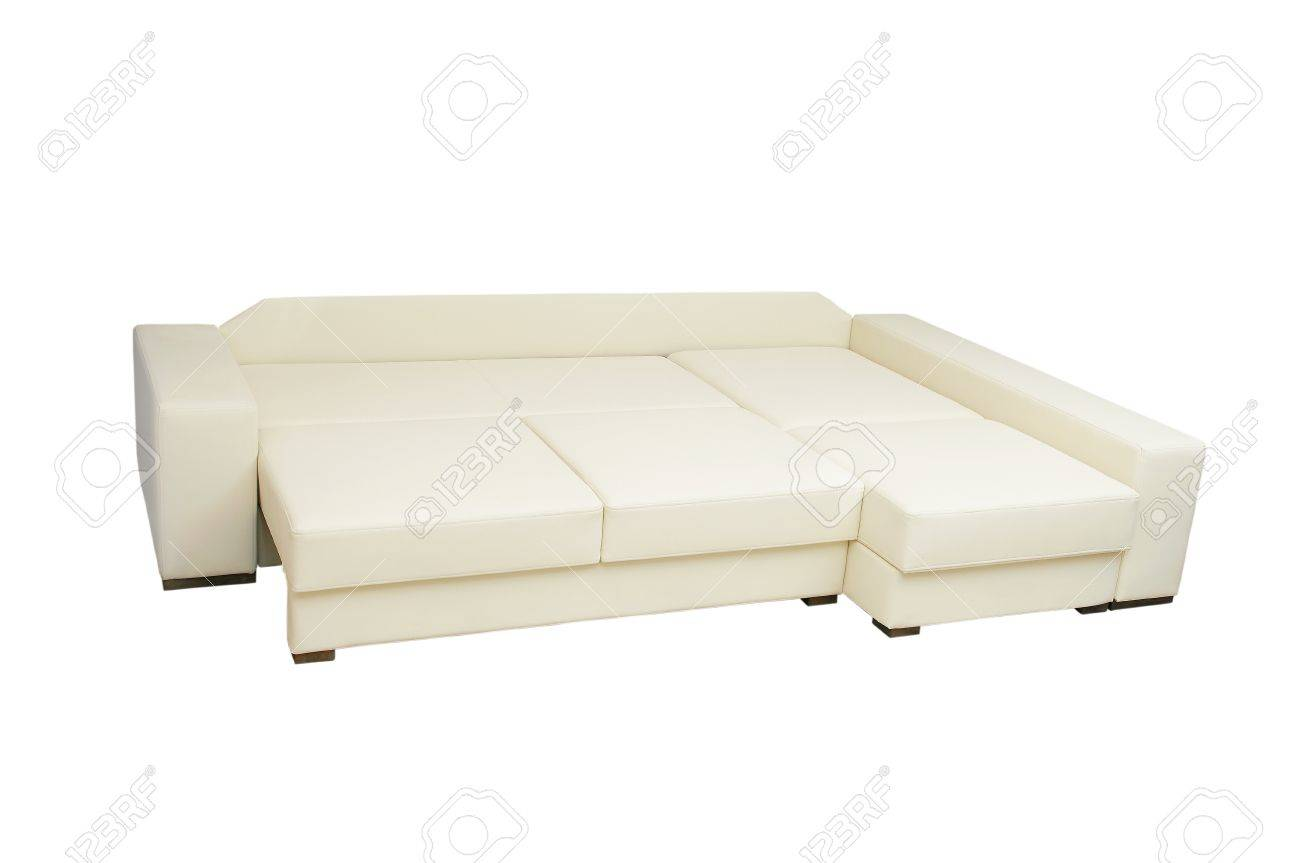Beautiful Leather Sofa Beige Color On A White Background Stock Photo Picture And Royalty Free Image Image 15663404