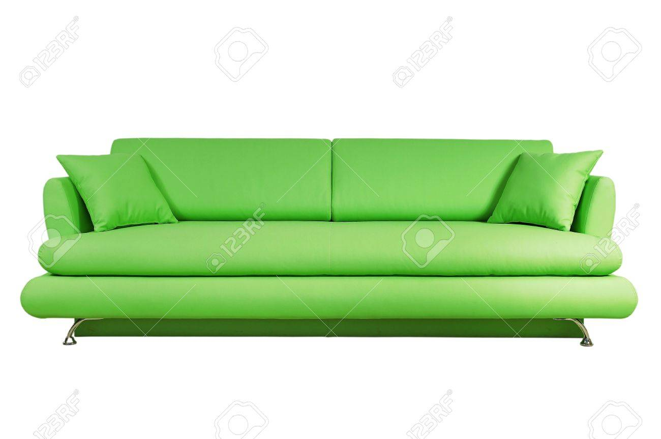 Green sofa isolated on white background Stock Photo - 15663485