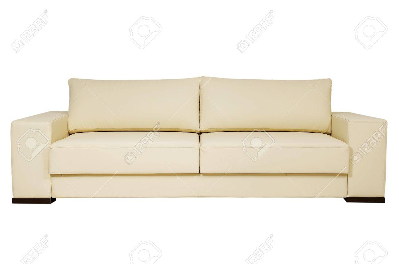 chic leather sofa beige color on a white background