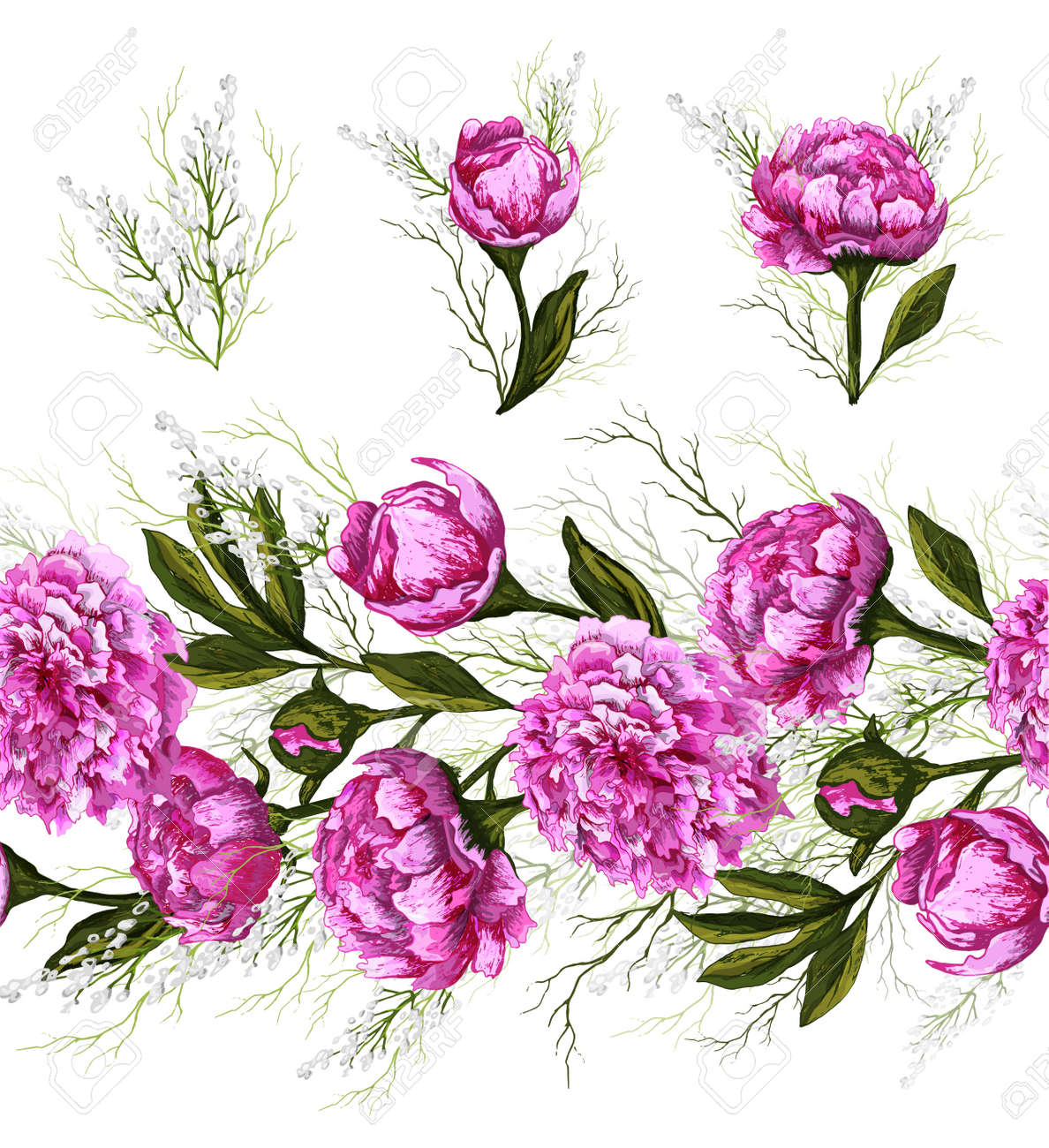 Endless brush pattern with spring peony flowers and greenery. hand-drawn Doodle in a realistic style. pink elements, horizontal border for seasonal design. vintage style. - 158351236