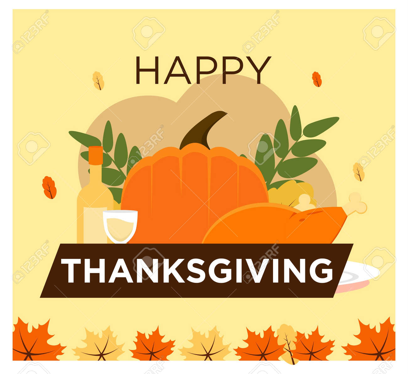 Happy Thanksgiving concept in flat design - 155647938