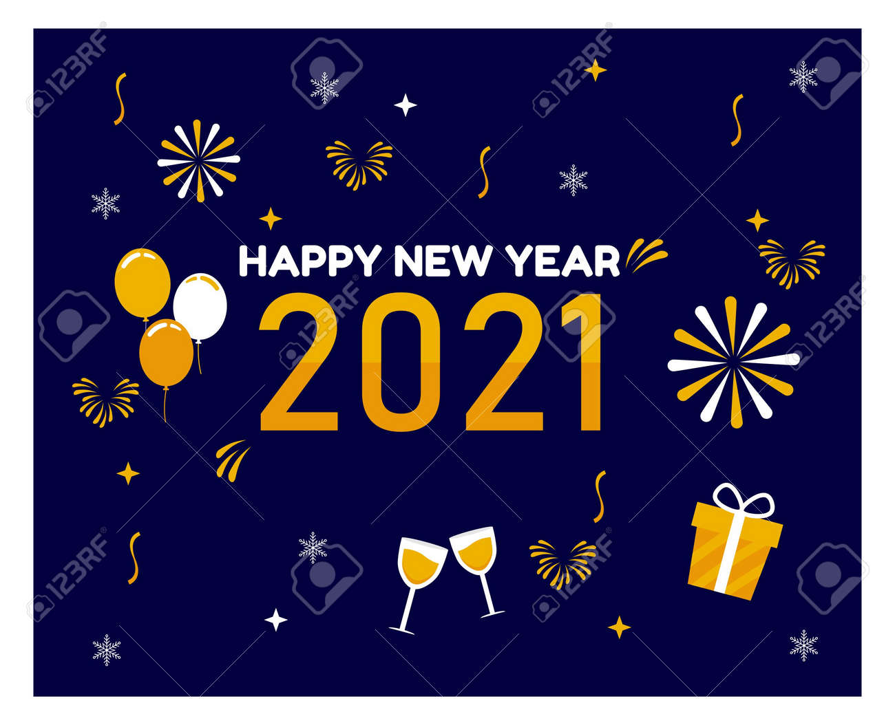 Flat design Happy New Year background - 159805105