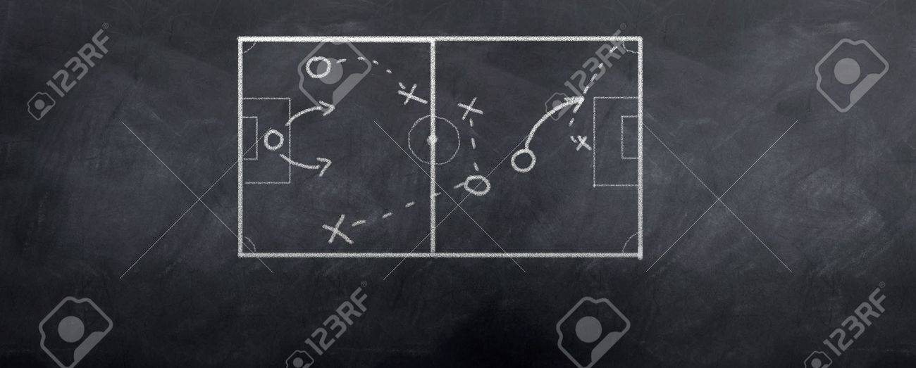 A socceer strategy board as the half time whistle blows. Written in chalk on a blackboard. Stock Photo - 6374318