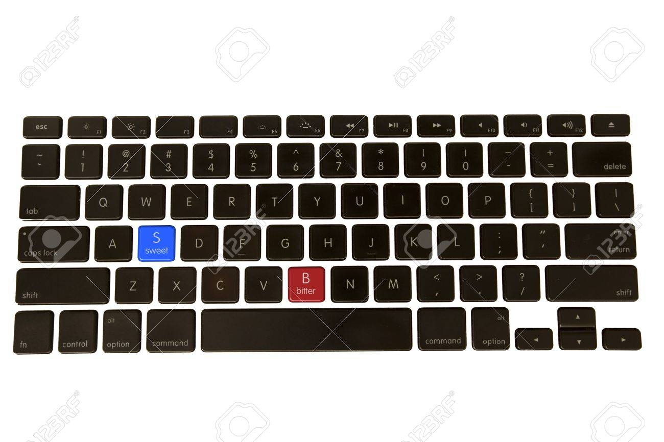 Bitter Sweet keys are placed on an isolated keyboard to replace the real keys Stock Photo - 6620524