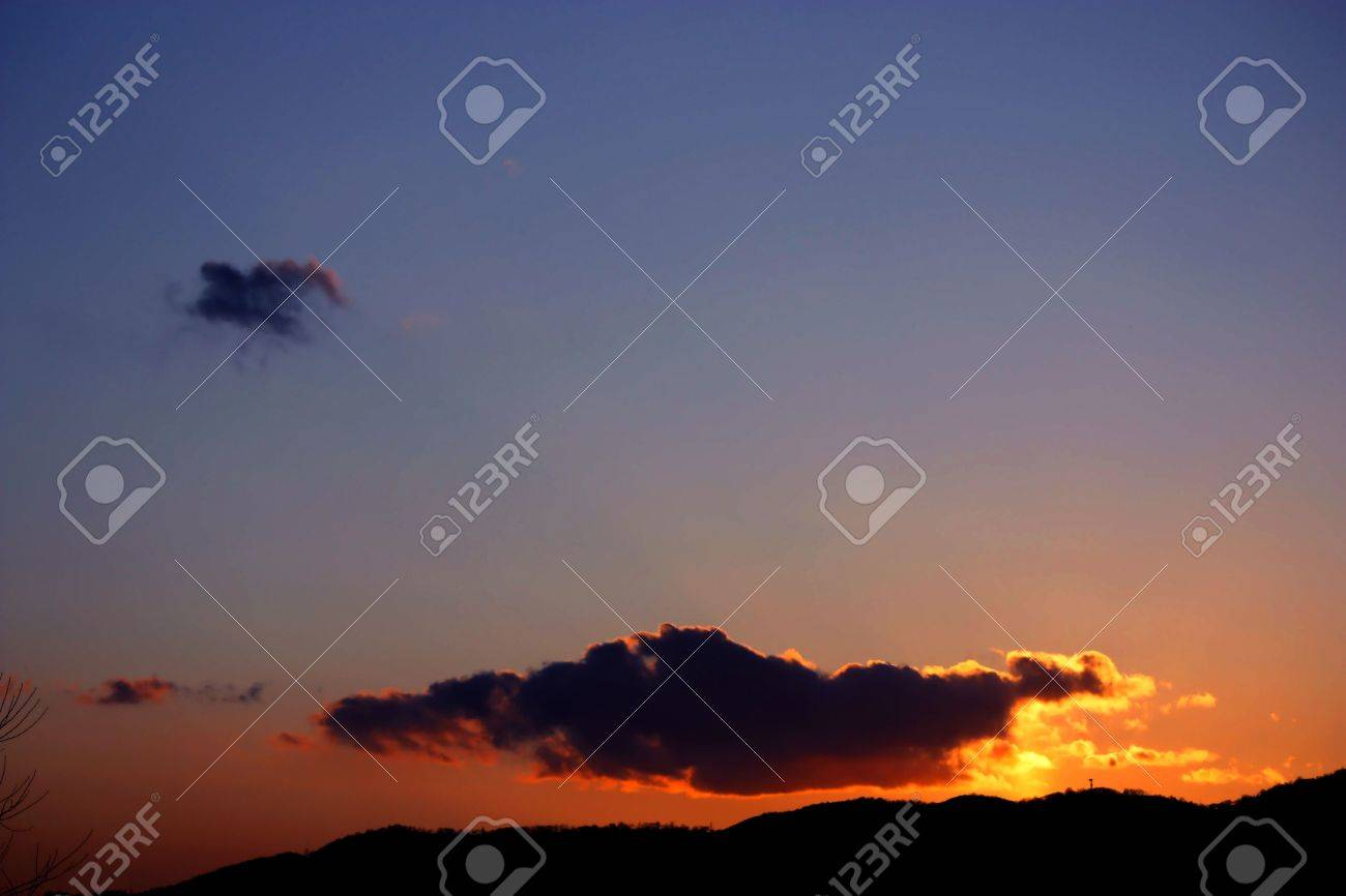 Sunset Over Mountains In Rural Japan With Dark Purple Clouds Stock Photo Picture And Royalty Free Image Image 4425103