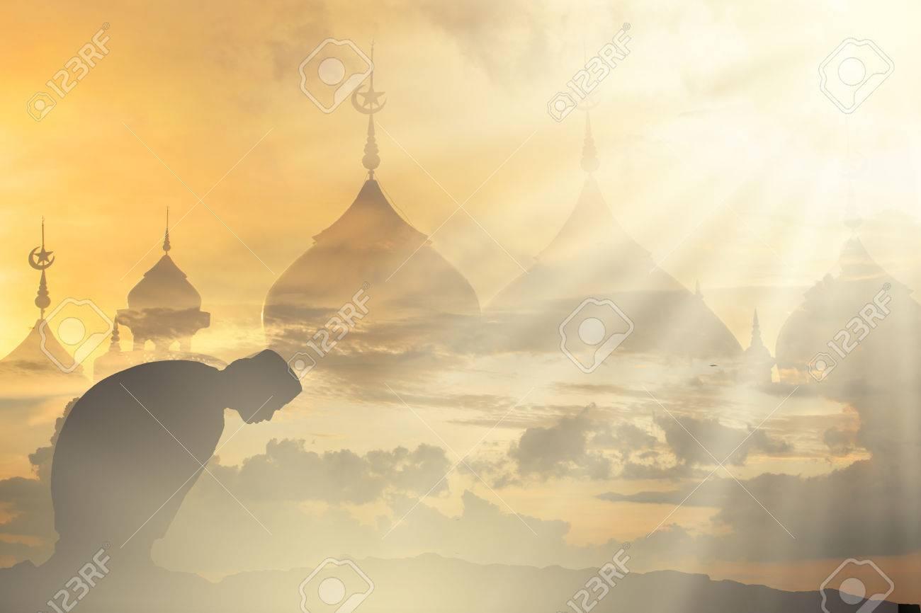 Muslim silhouette prayer in ramadan peace prayer middle east muslim silhouette prayer in ramadan peace prayer middle east blurred background mes islam heaven to biocorpaavc