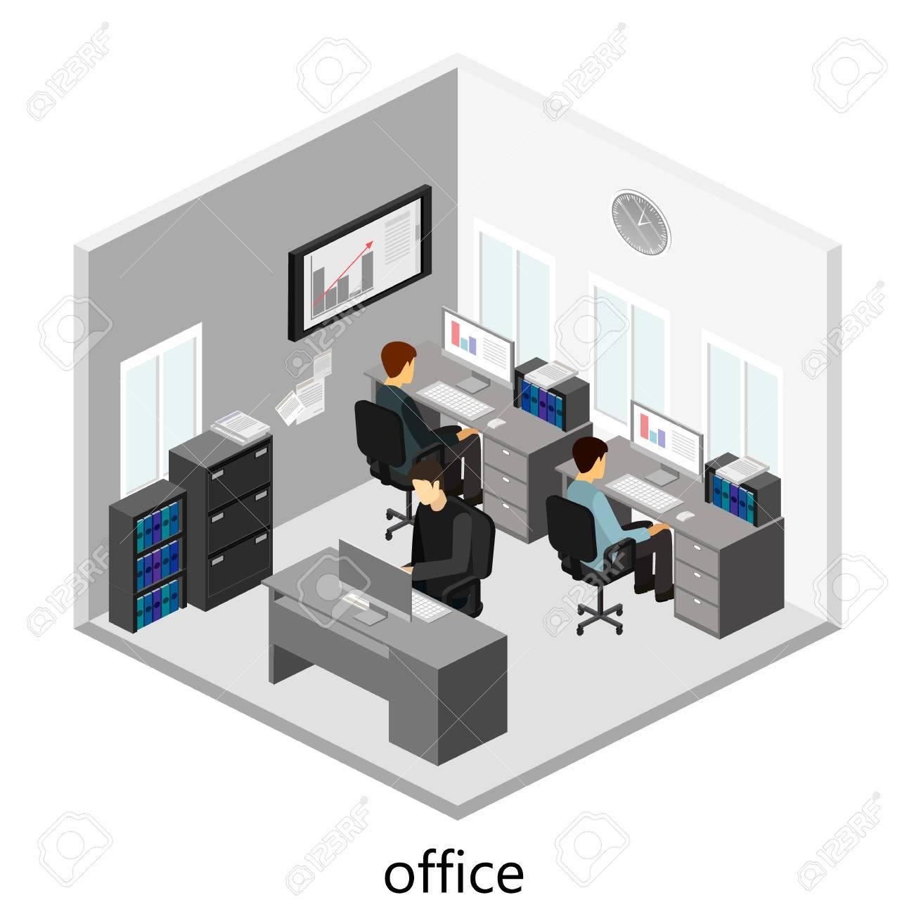 3D Isométrico Planta De Oficinas Abstracto Concepto Departamentos ...