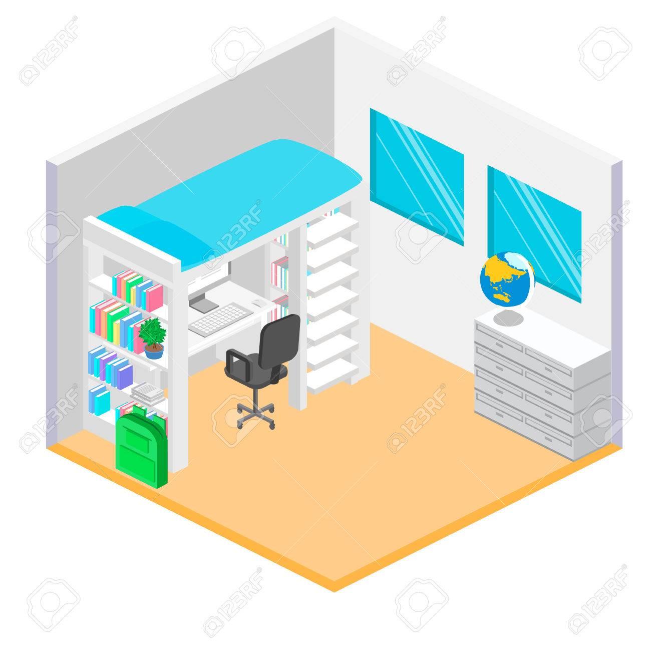 Lieu De Travail Isometrique Pour Enfant Chambre D Enfant Lit Mezzanine Avec Chaise De Table Et Des Livres Flat Illustration 3d Ensemble De