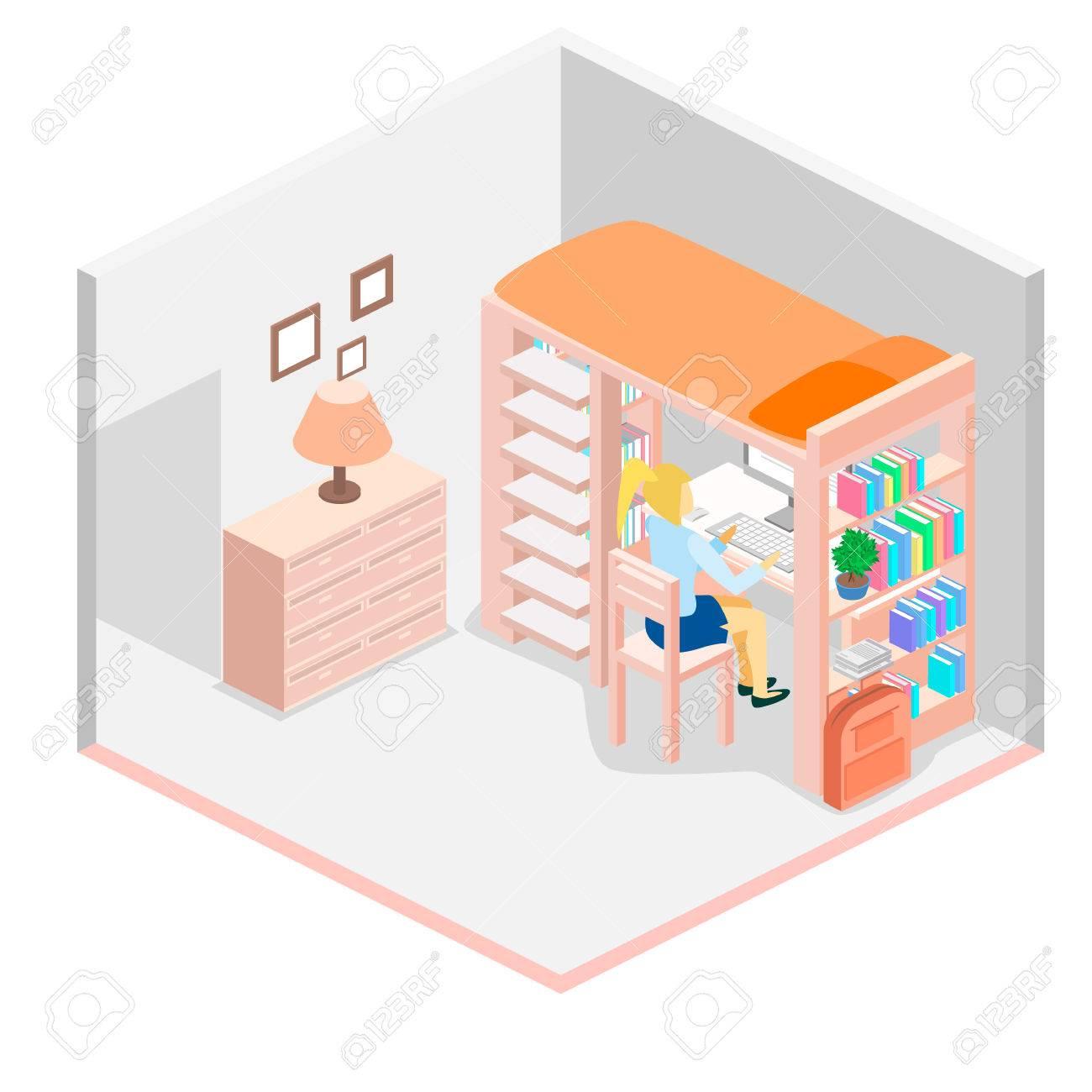 Lieu de travail isométrique pour enfant. Chambre d'enfant. Lit mezzanine avec chaise de table et des livres. Flat illustration 3D. Ensemble de