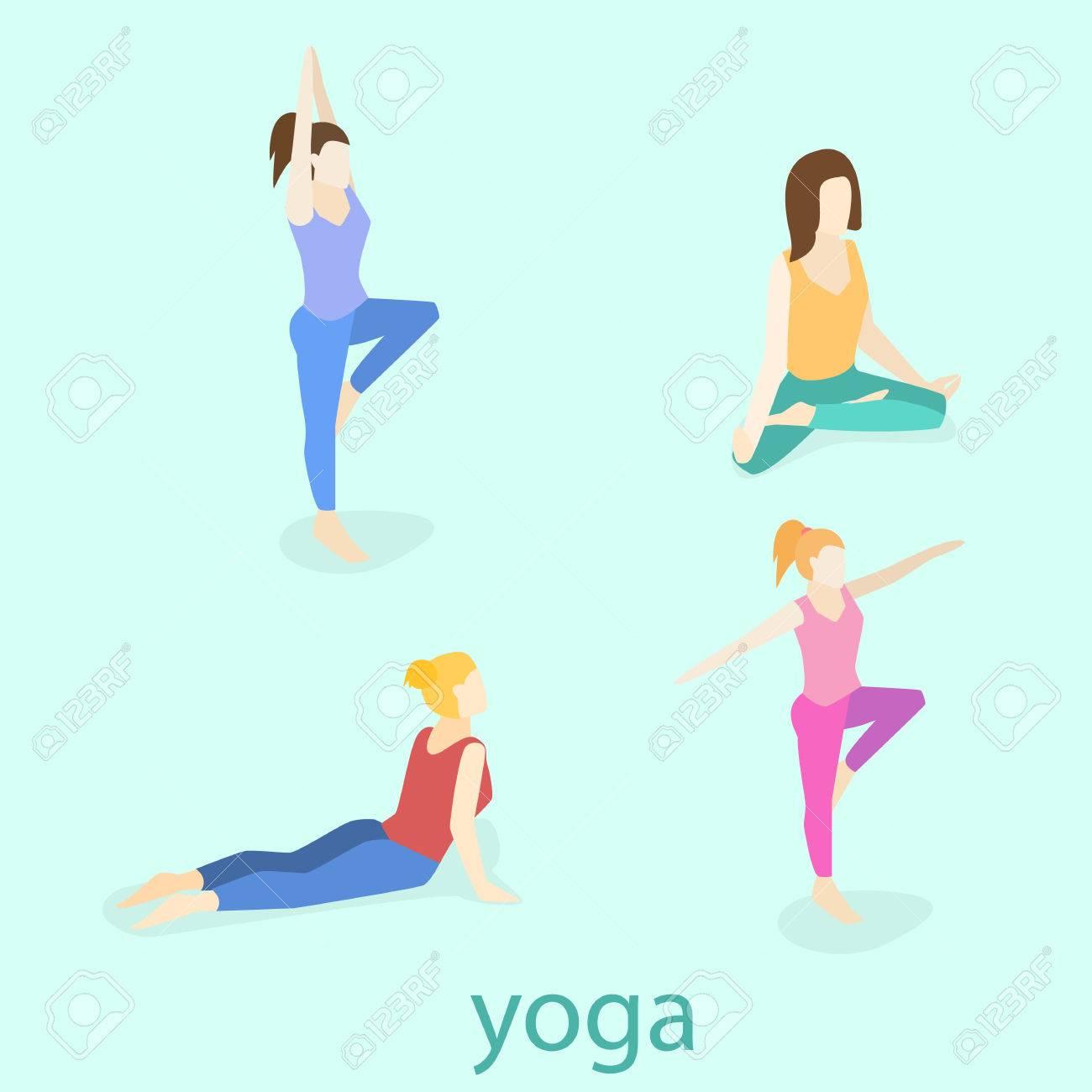 Las posturas de yoga Elementos de Infographic con subtítulos. Ilustración  del vector. c764e8fb461f
