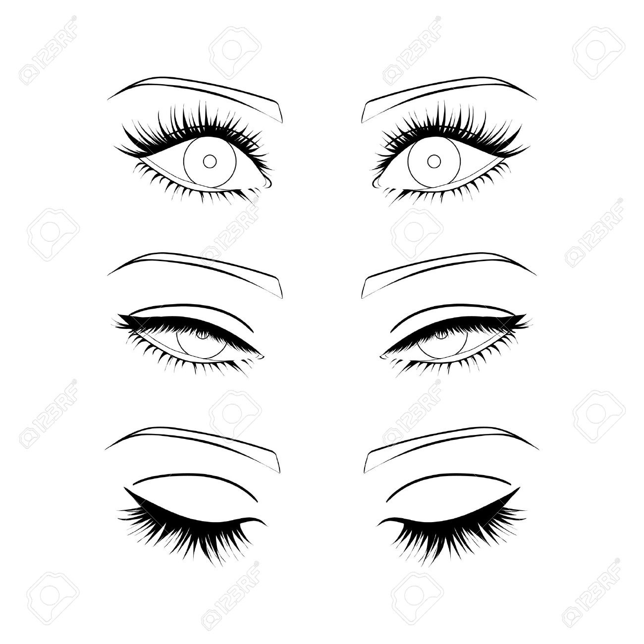 Female eyes outline. open, closed half-open eyes - 61119096
