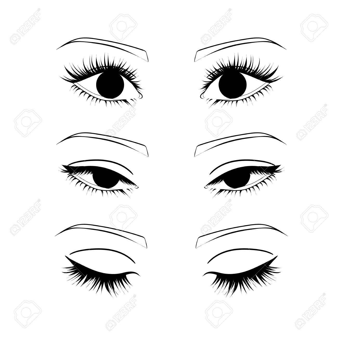 Female eyes outline. open, closed half-open eyes - 61119100