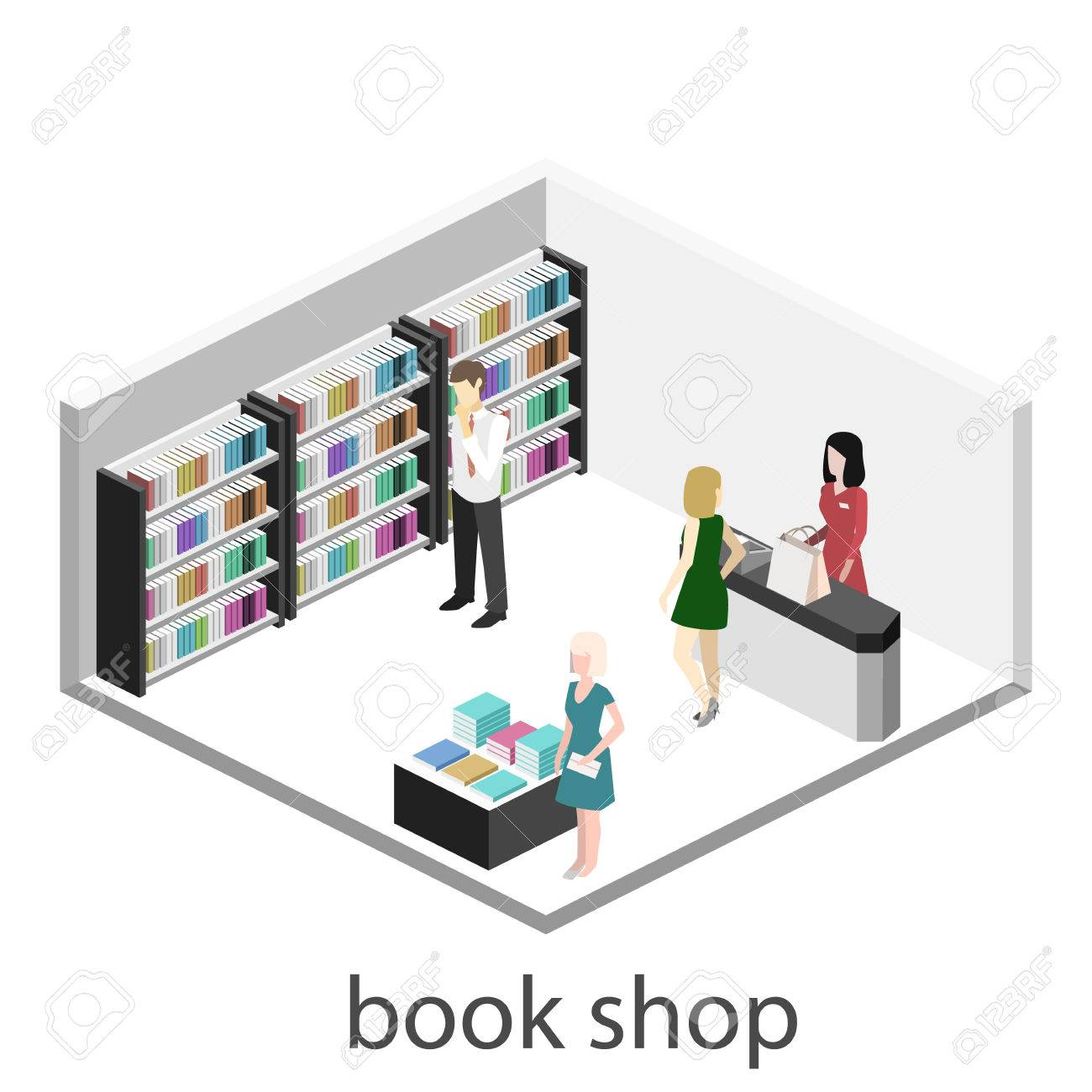 3D Interior Plana Isométrica De La Tienda De Libro. Vector Tienda De ...