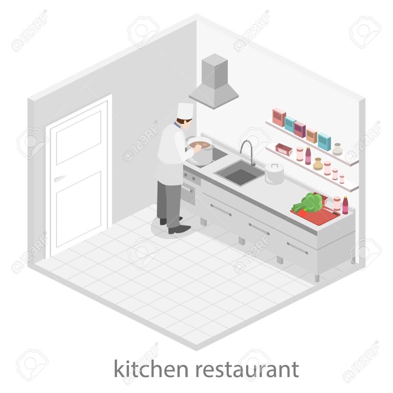 3d plat intérieur concept de vecteur isométrique de la cuisine