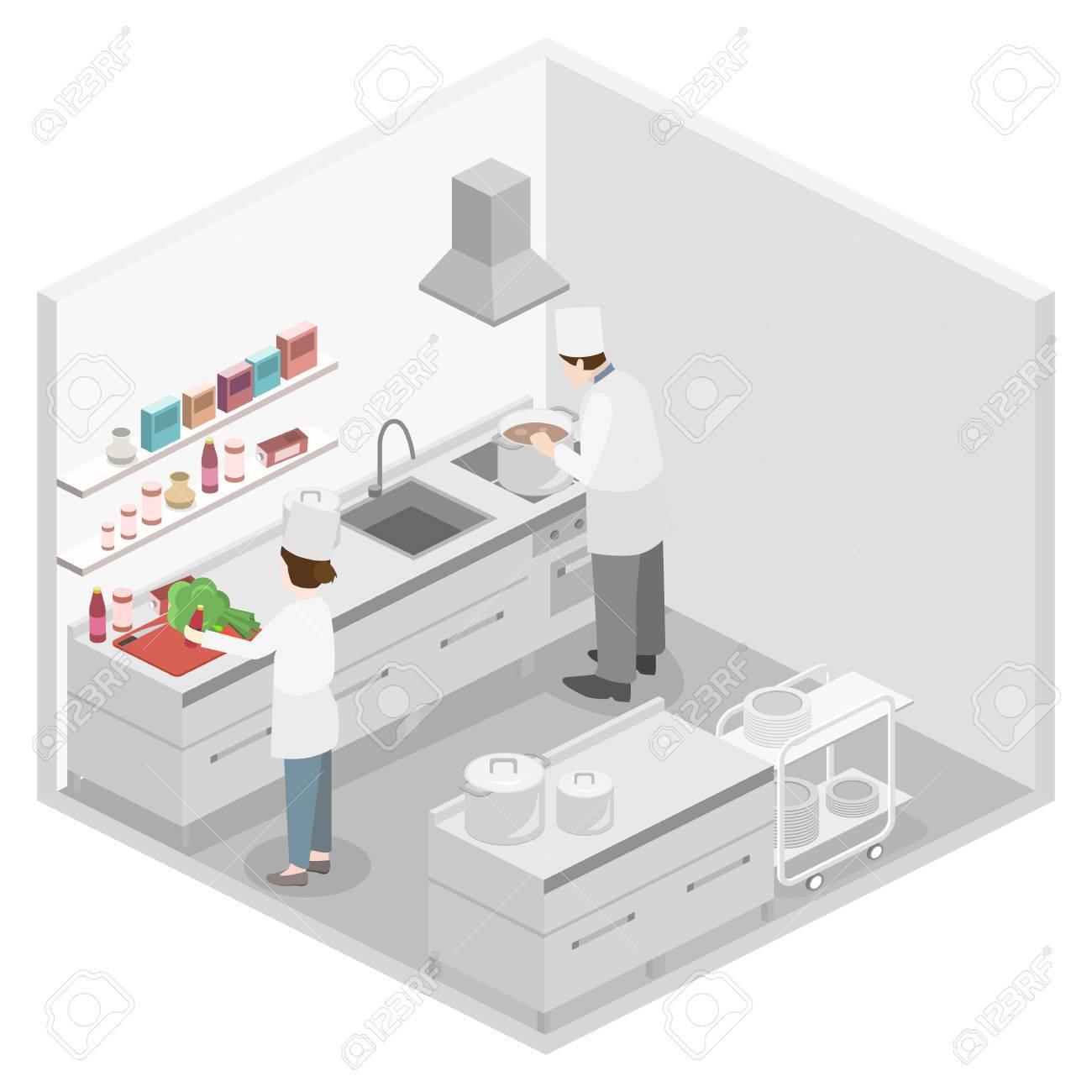 Isometrischen Flache 3D-Konzept Vektor-Interieur Von Professionellen ...