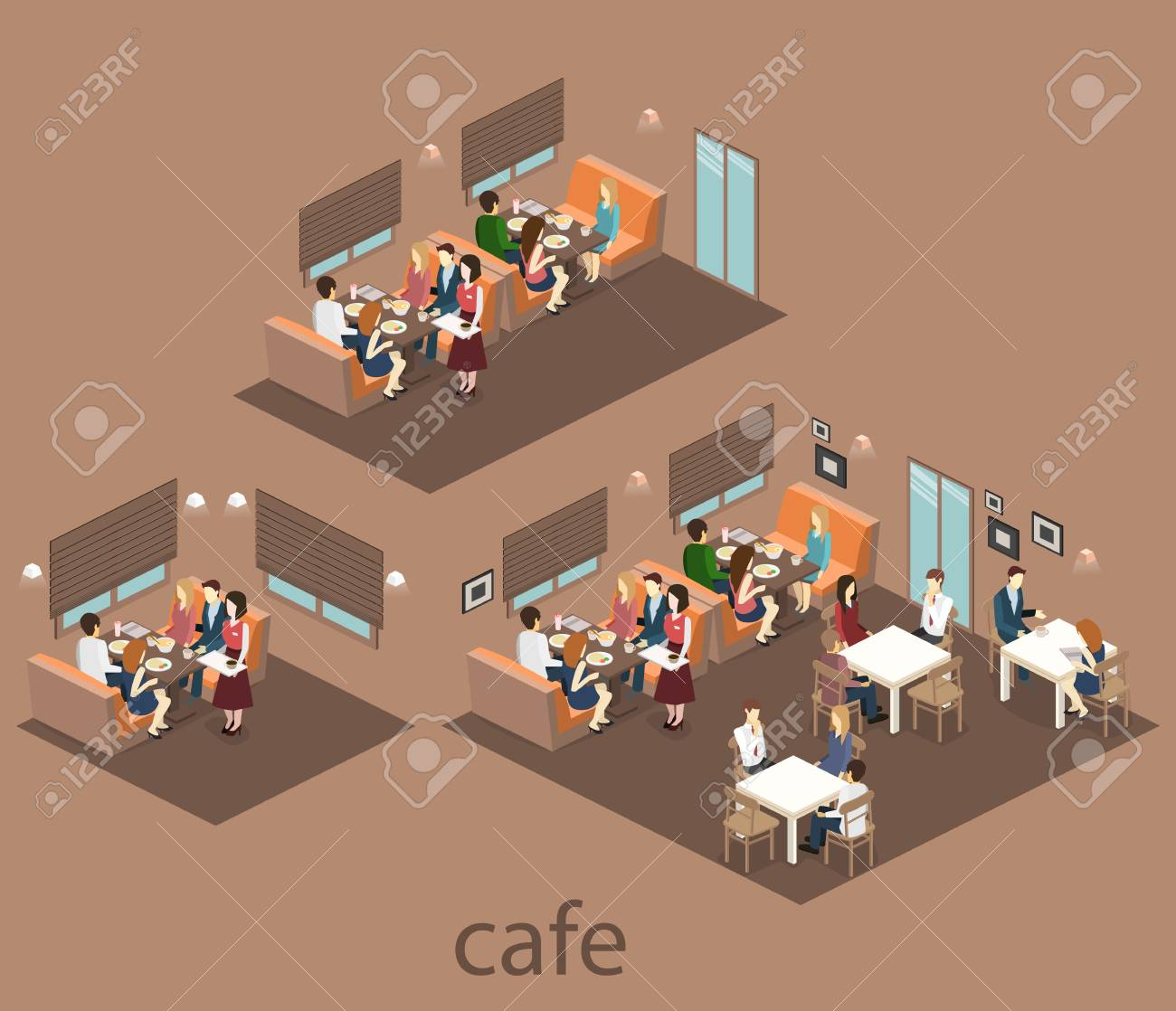 Isometric Interior Of Coffee Shop Flat 3d Isometric Design Interior Royalty Free Cliparts Vectors And Stock Illustration Image 65809689