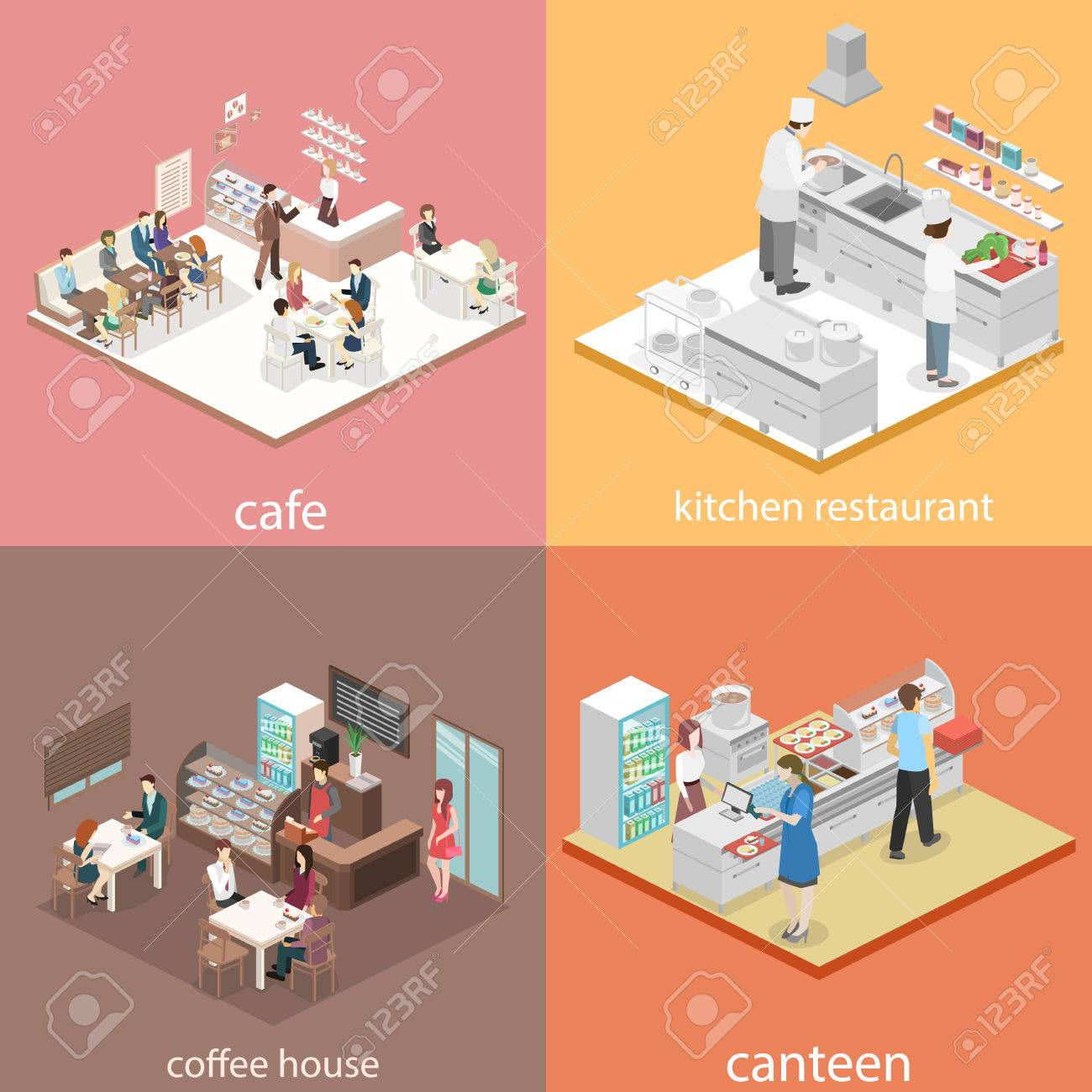 Restaurant Kitchen Cartoon 3 Of 16 Professional Isometric 67795407 Flat 3D Concept Vector Interior