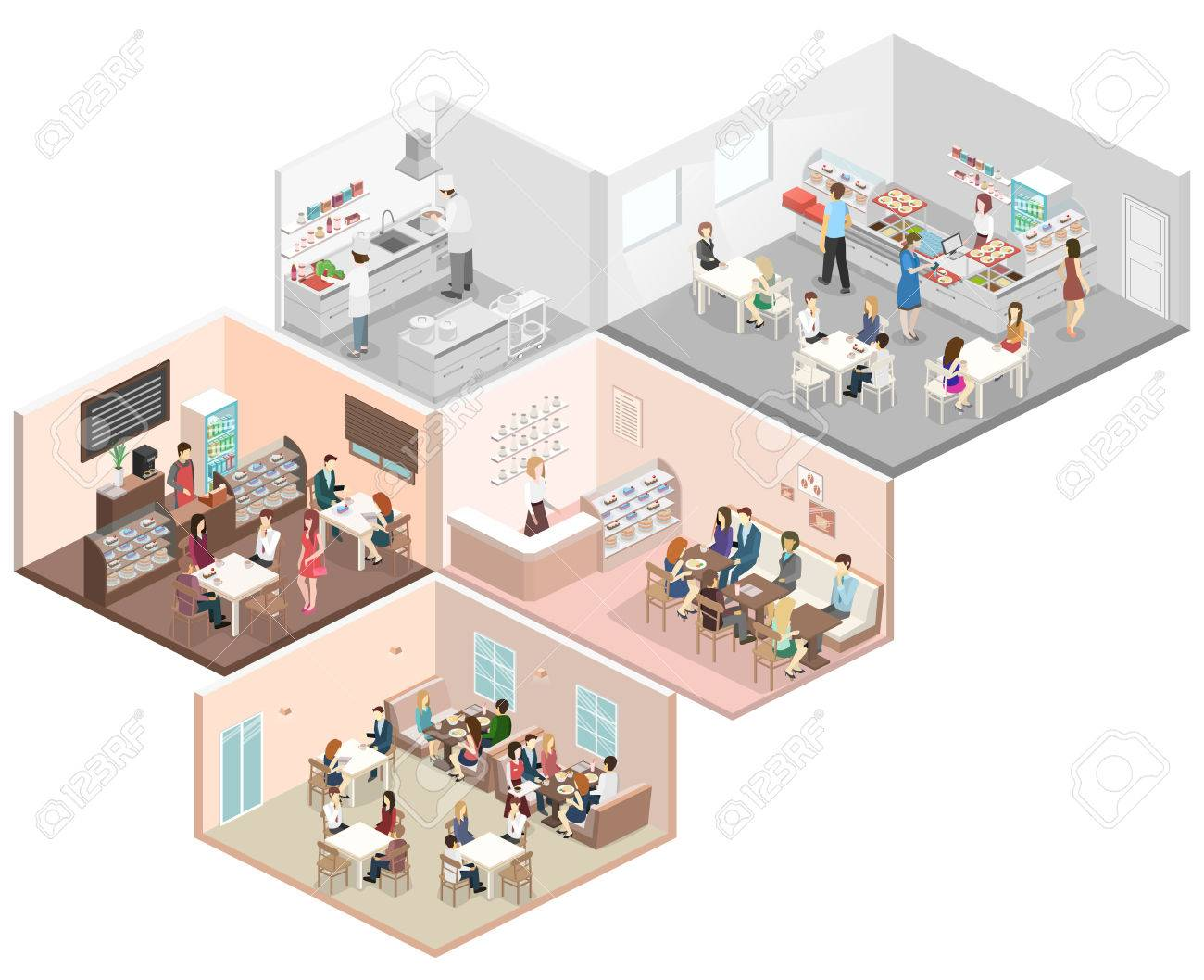 Isometric Flat 3d Concept Vector Interior Of Sweet Shop Cafe Royalty Free Cliparts Vectors And Stock Illustration Image 67795406