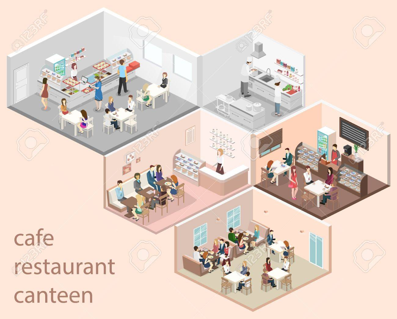 Isometric Flat 3d Concept Vector Interior Of Sweet Shop Cafe Royalty Free Cliparts Vectors And Stock Illustration Image 67794977